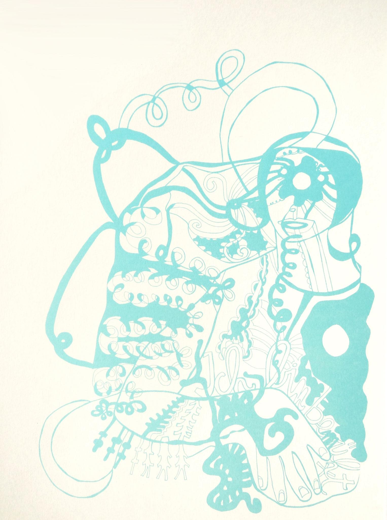 Achterbahn, Siebdruck auf Papier, 2003