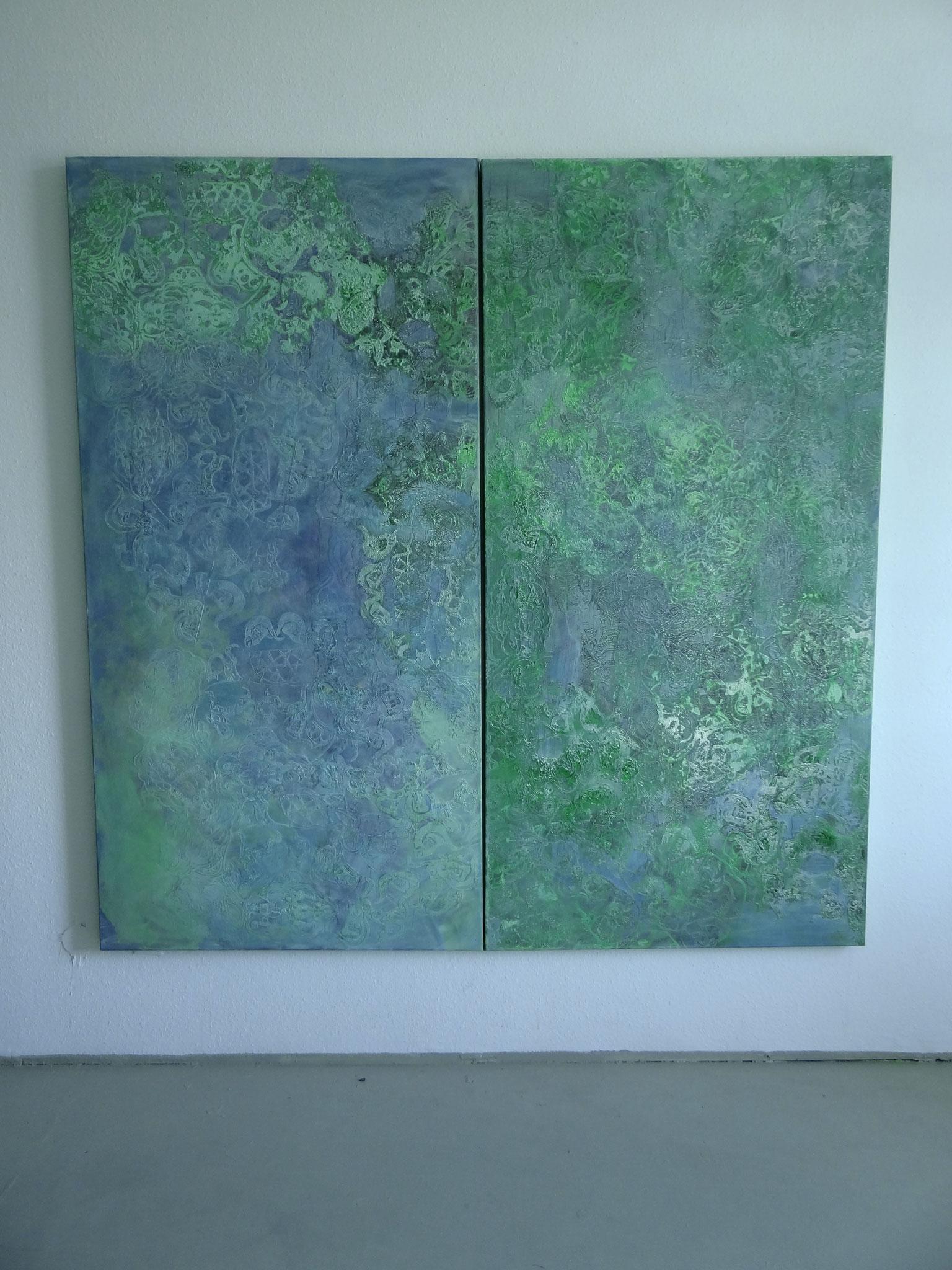 """""""Tomorrowland"""", 2012, 2 x 100 x 200 cm, Öl und Siebdruck auf Leinwand (Privatbesitz Damme)"""