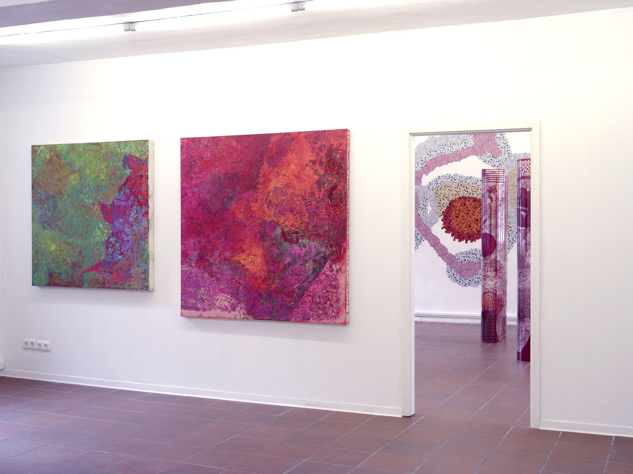 """""""Bonny und Clyde"""", 2013, 140 x 140 cm, Öl auf Leinwand, Sammlung Hans Tepe, Berlin Ausstellungsansicht: """"Sounds of Silence"""", 2013, Bräuning Contemporary, Hamburg (Foto: Ralf Timm)"""