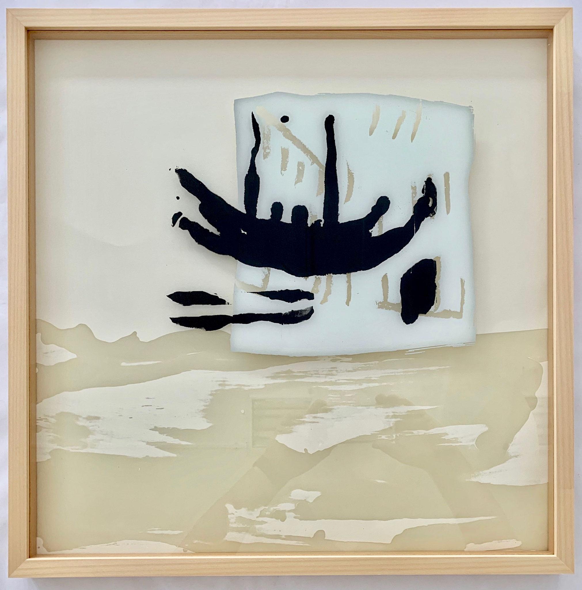 Hoffnungsträger (1te Version), Siebdruck auf Glas, 50 x 50 cm, gerahmt, 2019