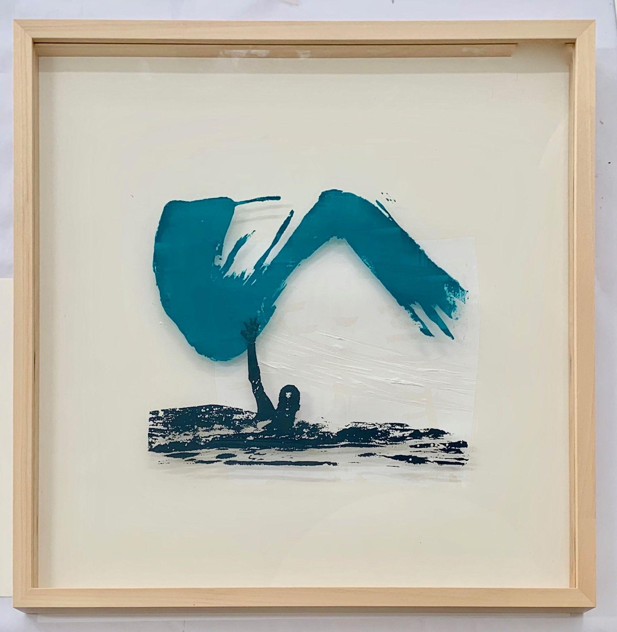 Alleinschwimmer, Siebdruck auf Acrylglas, 50 x 50 cm, gerahmt, 2019