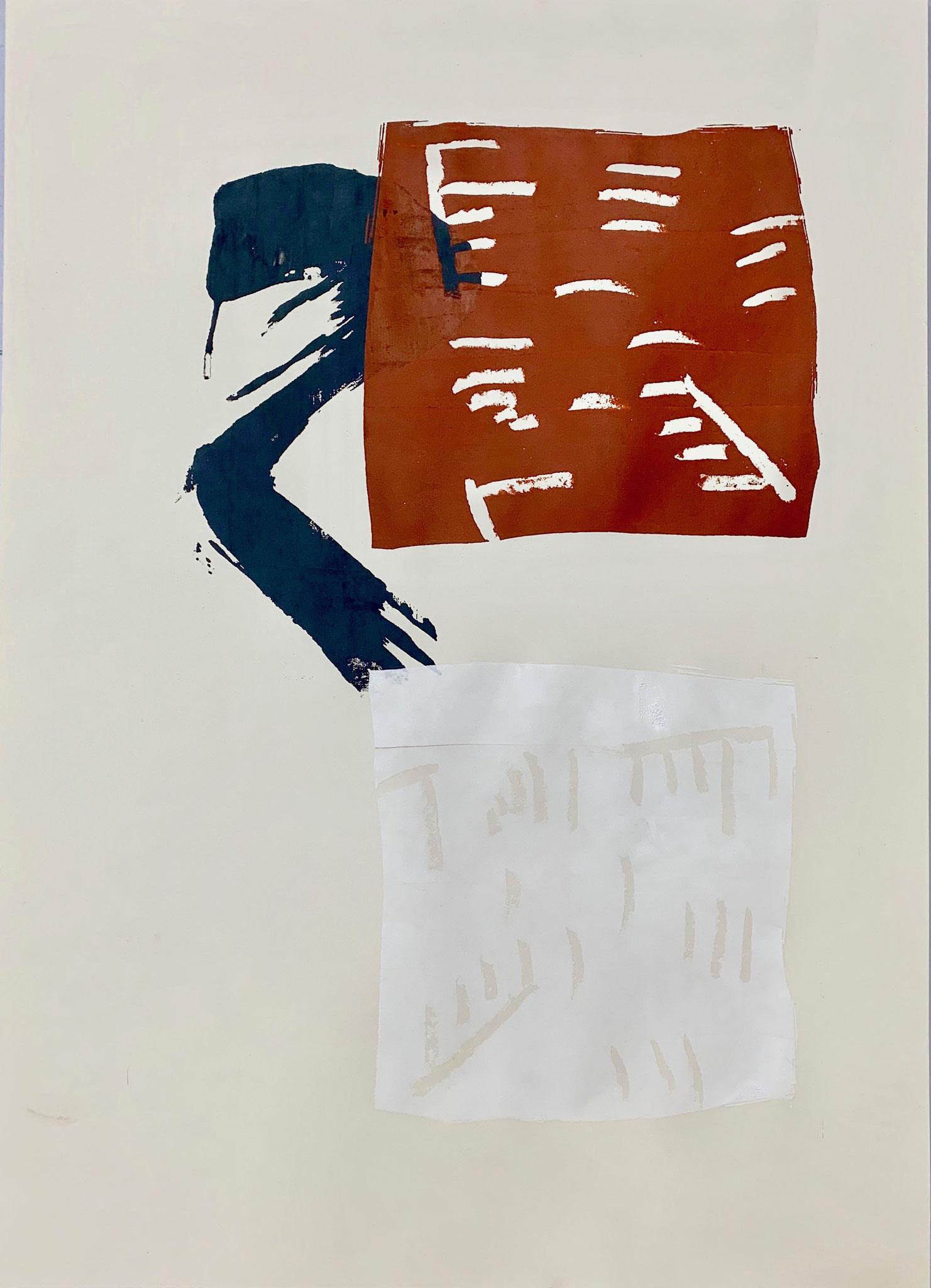 Ohne Titel, Siebdruck und Wachs auf Papier, 30 x 42 cm, 2019