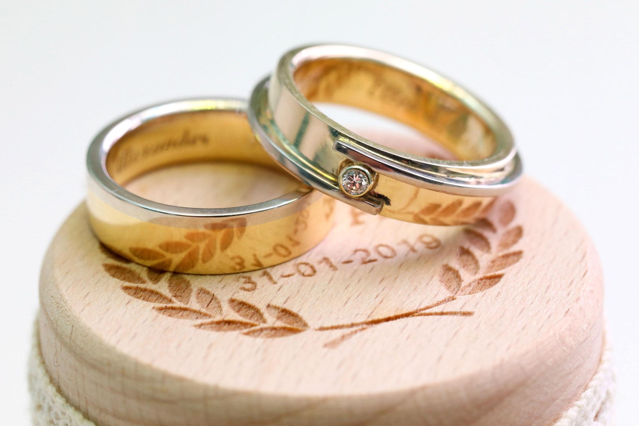 Geel goud met witgoud en diamant