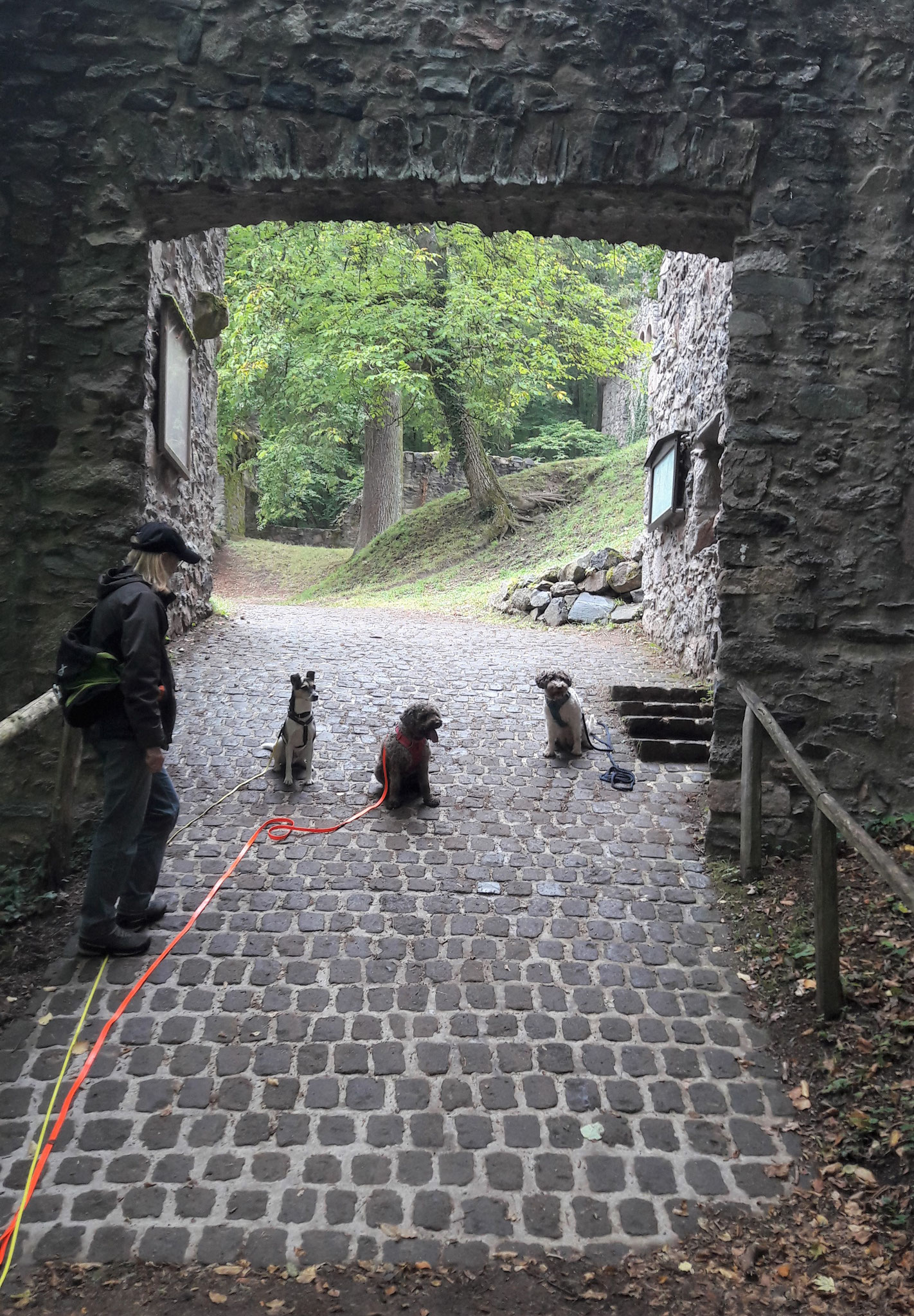still sitzen im Durchgang zur Burg