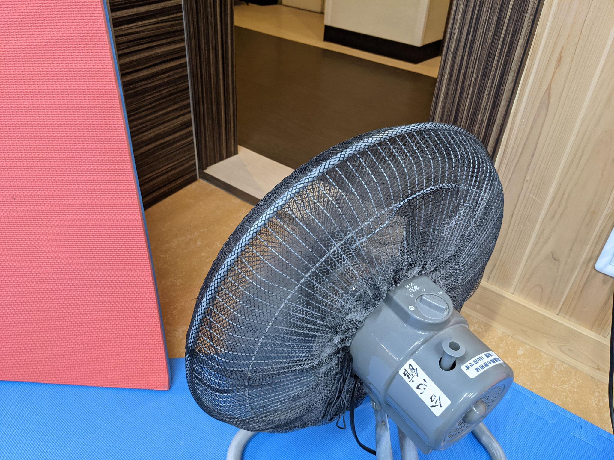 3)扇風機で空気を循環