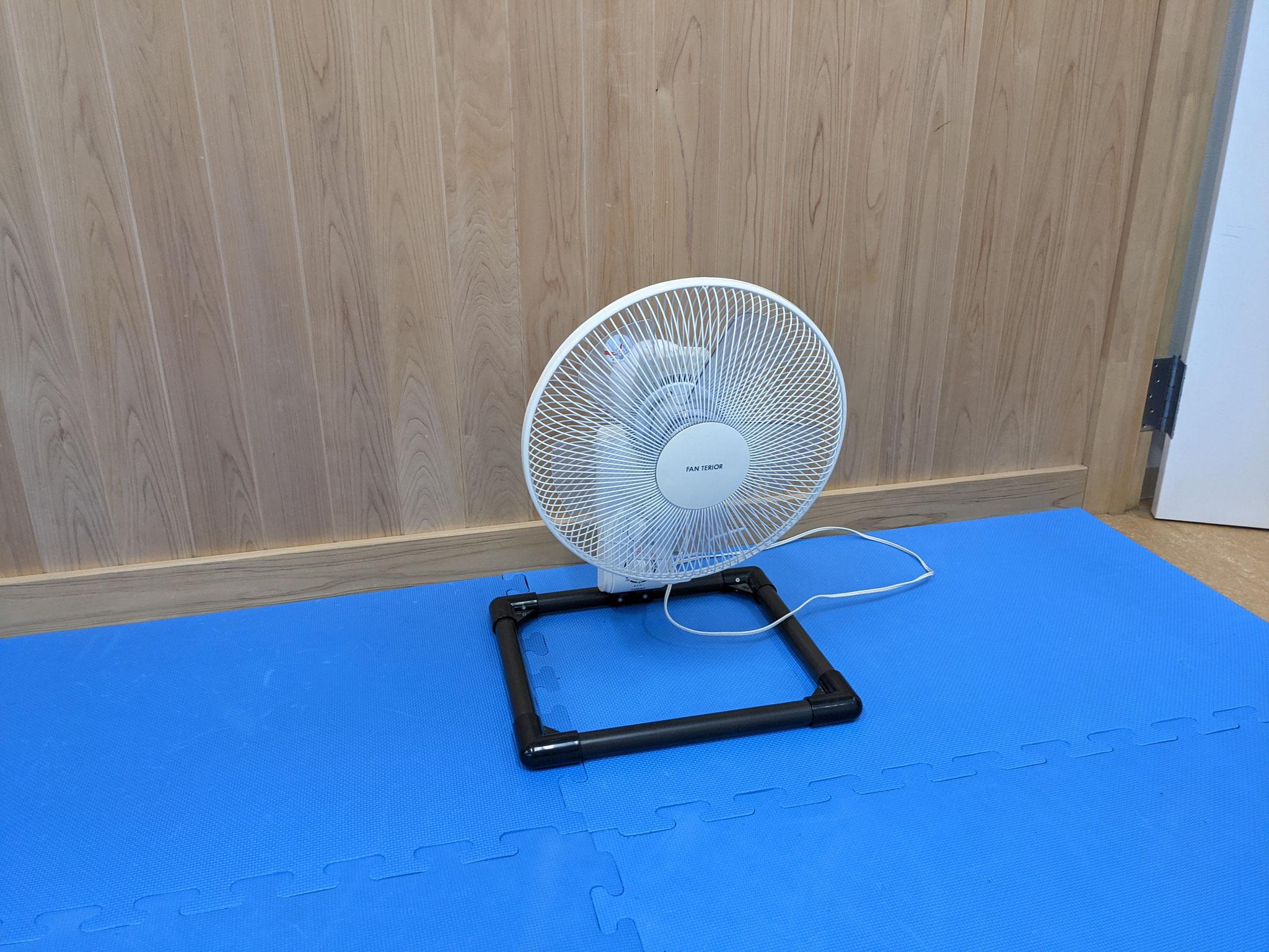 4)扇風機で空気を循環