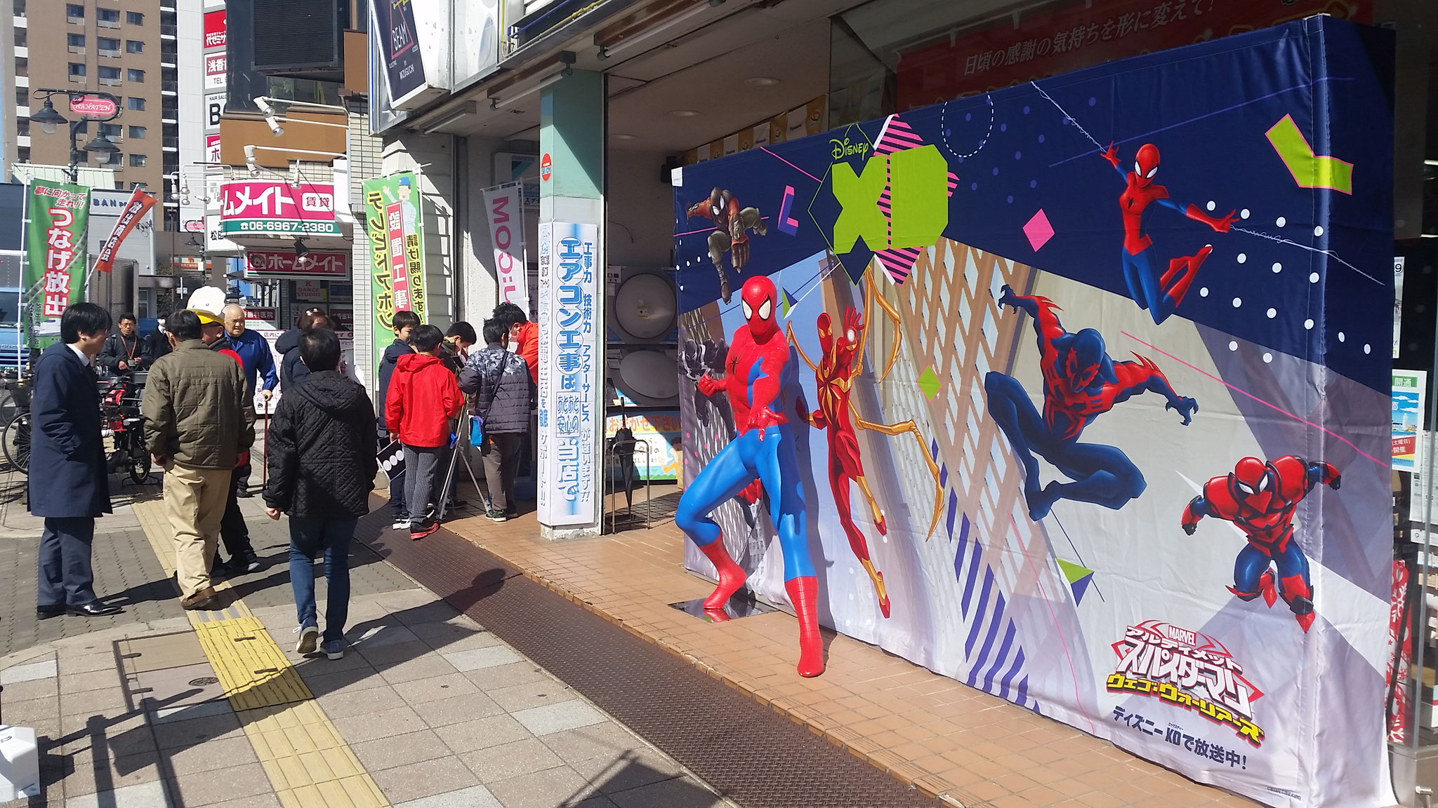スタンプラリー対象店のBEAM・ミズグチではスパイダーマンが登場