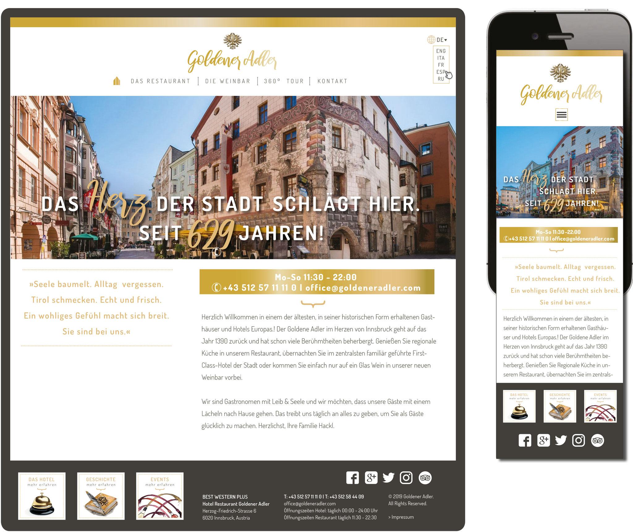 Goldener Adler Innsbruck | Konzeption/Layout Homepage