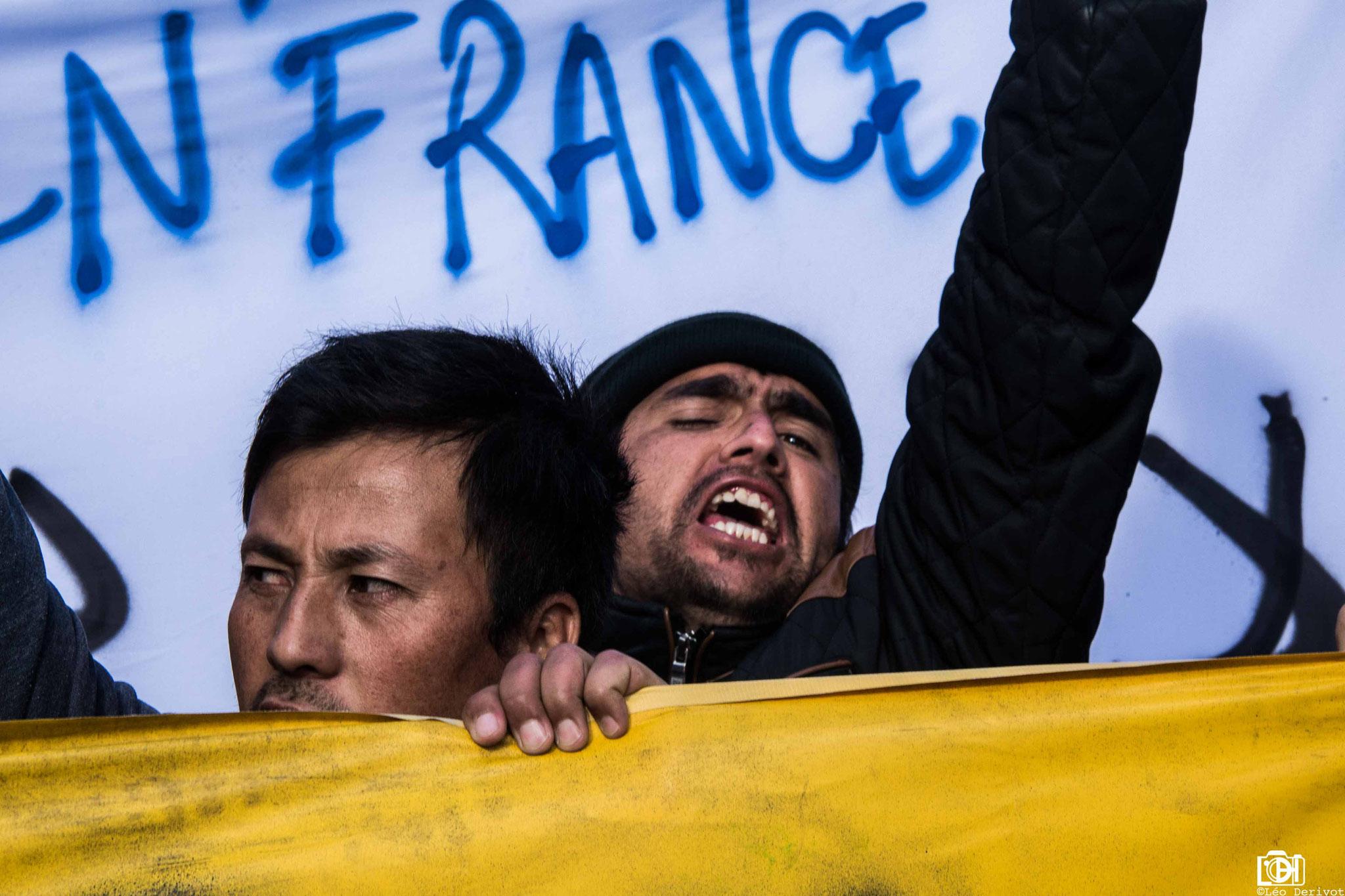 Manifestation de soutien au migrant de la porte de la chapelle, Paris 2018