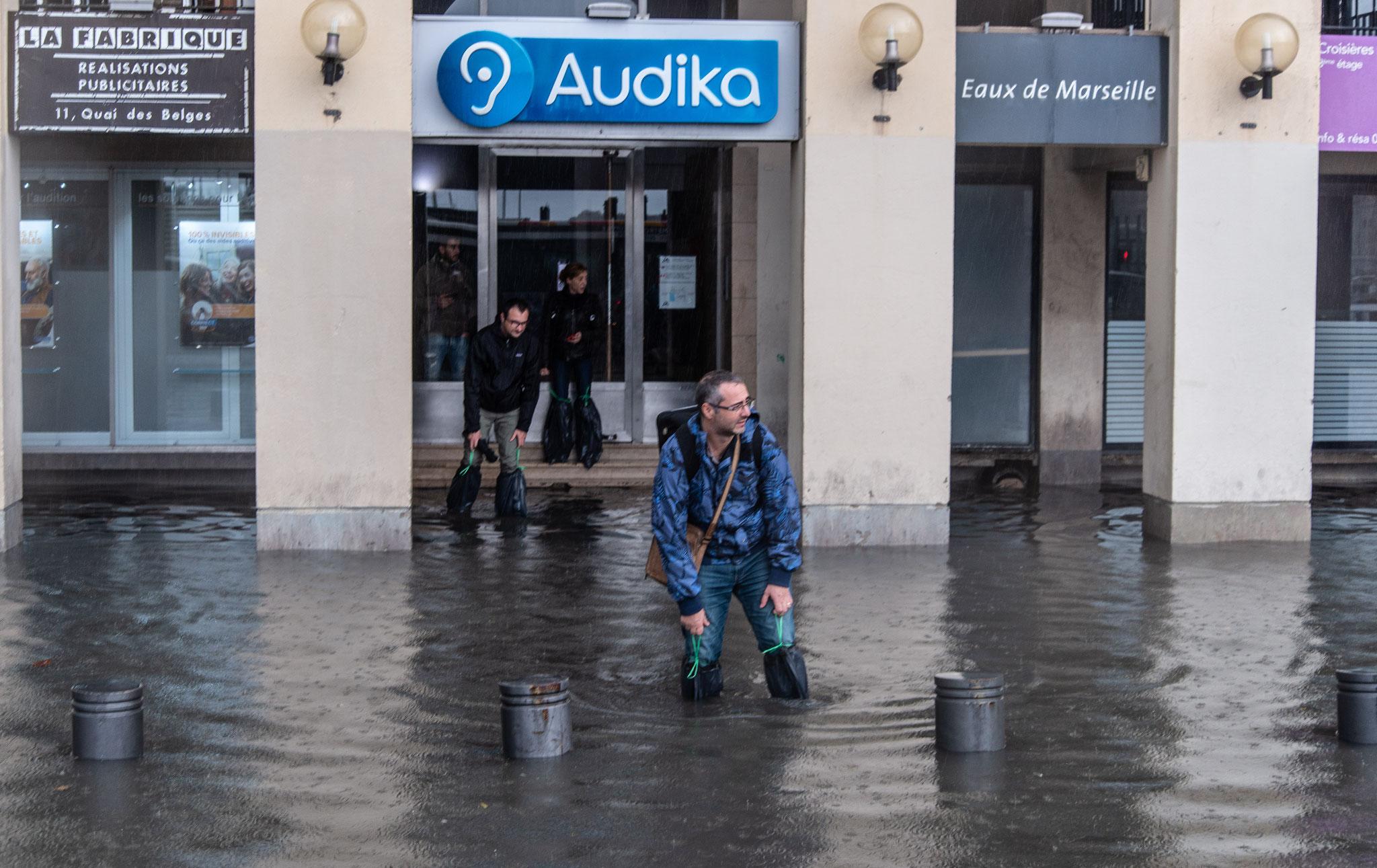 Inondation du vieux port, Marseille, 2019