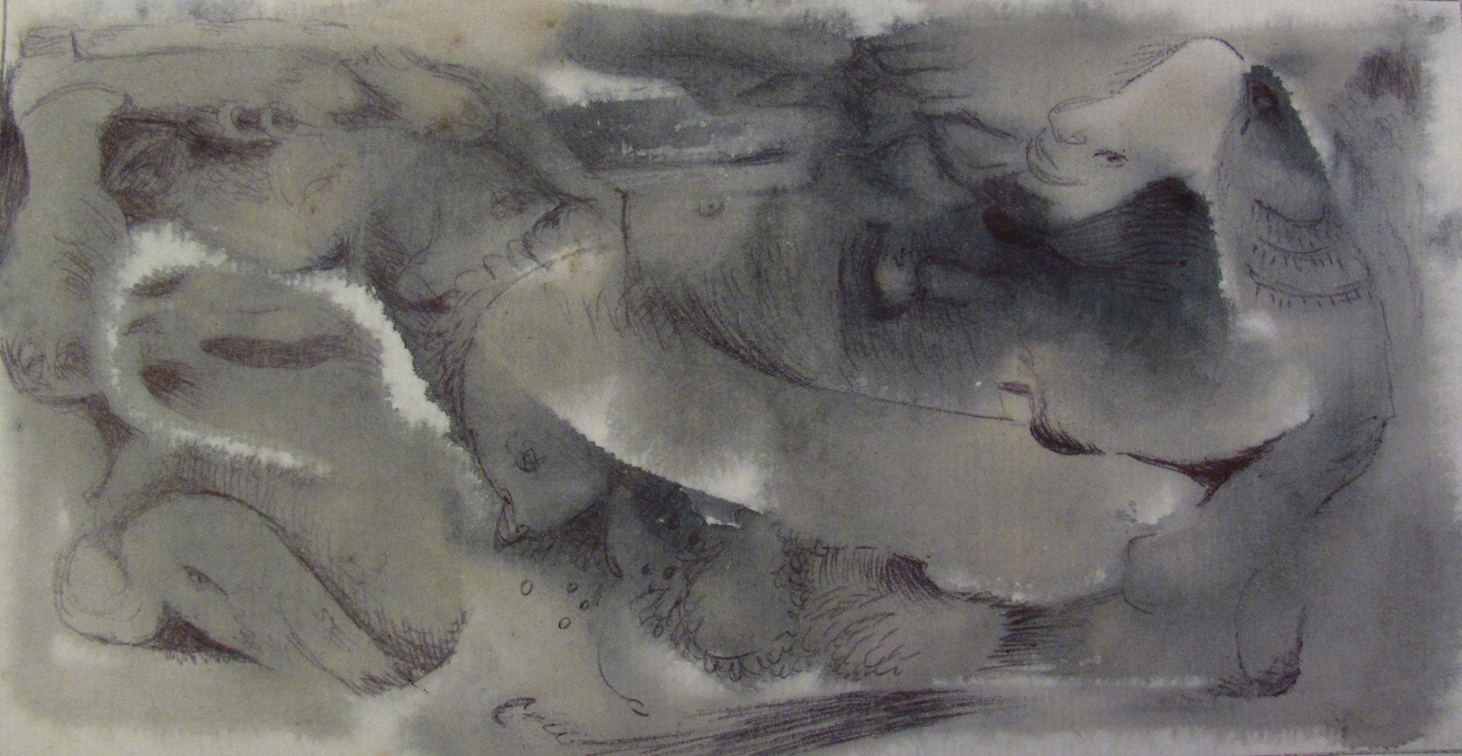 Hasta B. 1 (format 8x16 cm - Encres, aquarelles et rehauts de bic ou/et mine de plomb sur carnet de papier calligraphie très fin - 2006)