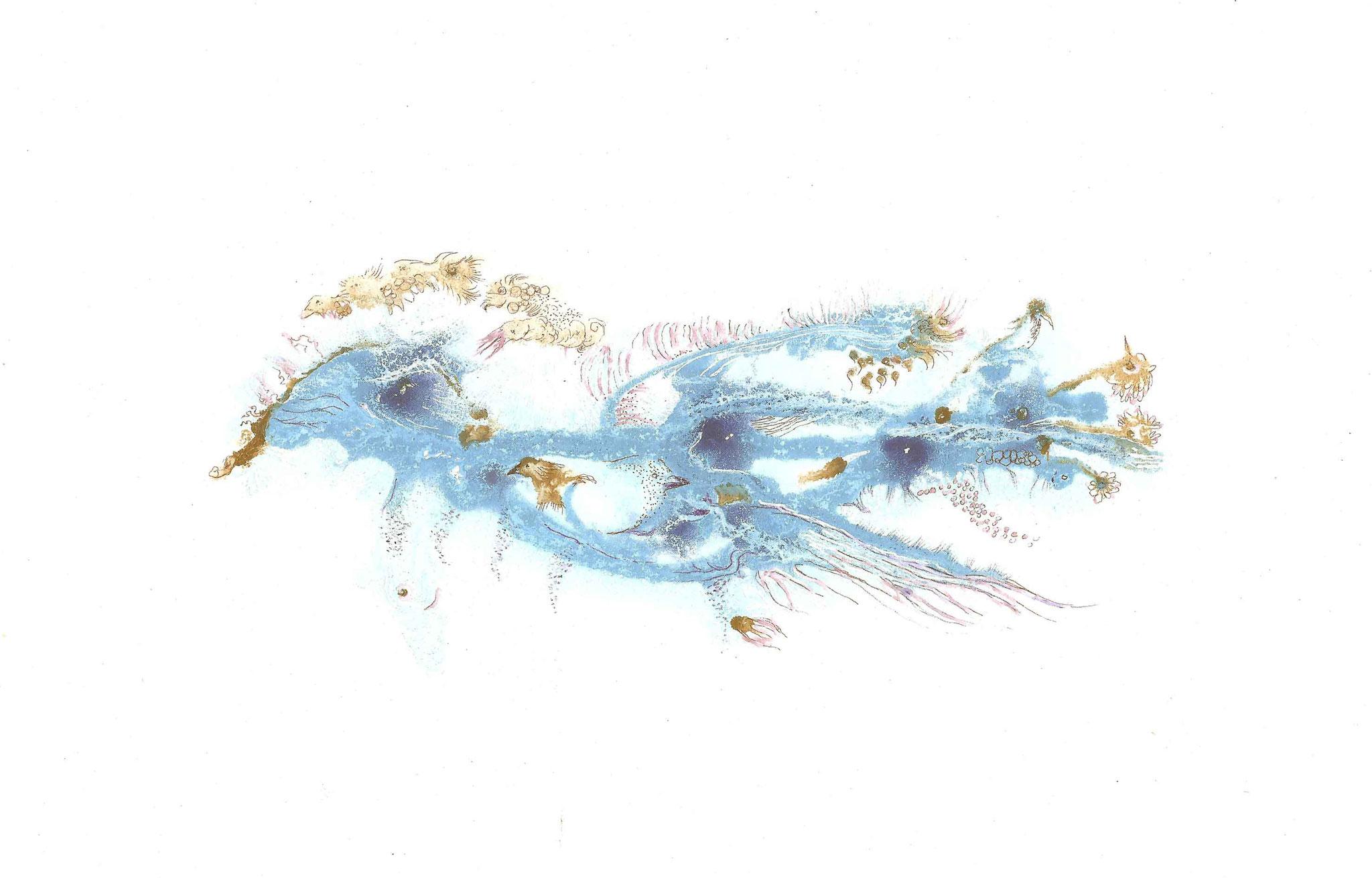 Azulave 1  (format 21,6 x 29,7 pigments et encres sur papier BFK rives  250g)