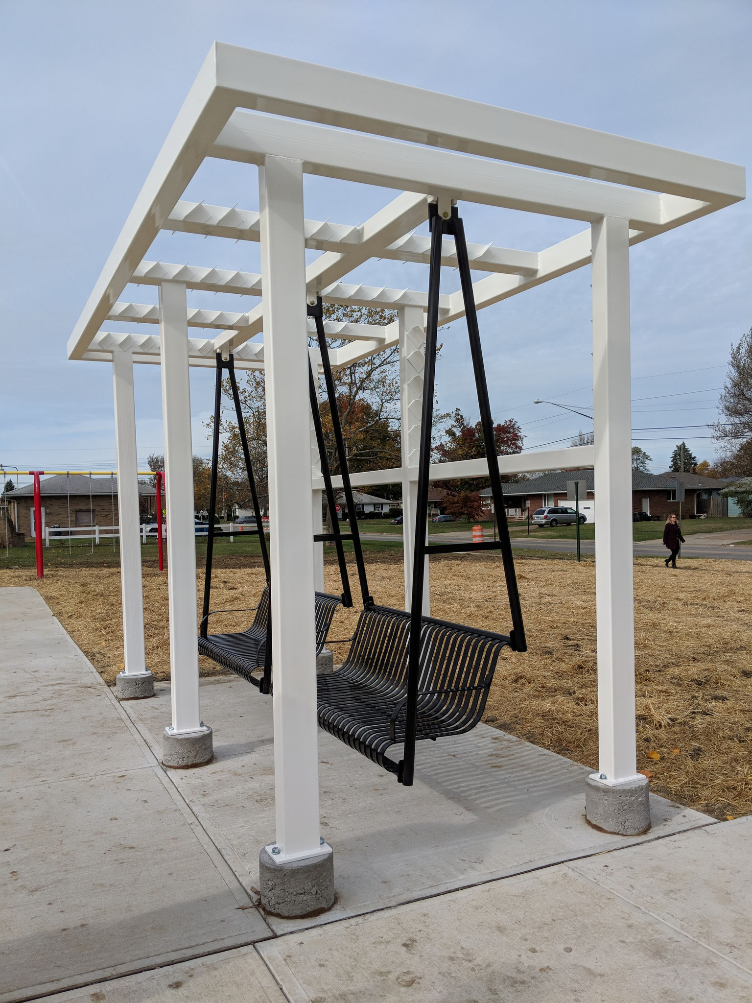 AARP donated funds for an adult swing, shade trellis and shade canopy