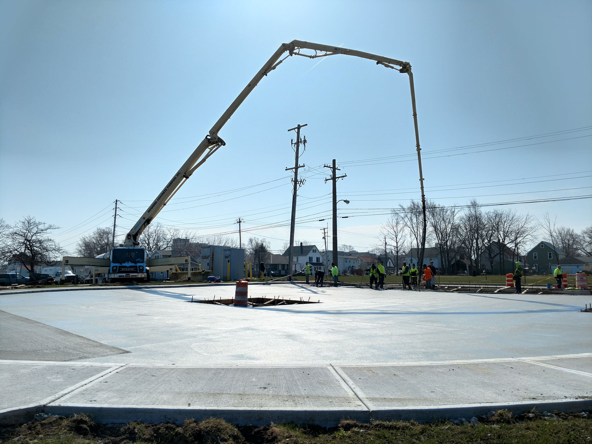 Concrete parking lot replacement for a utility company