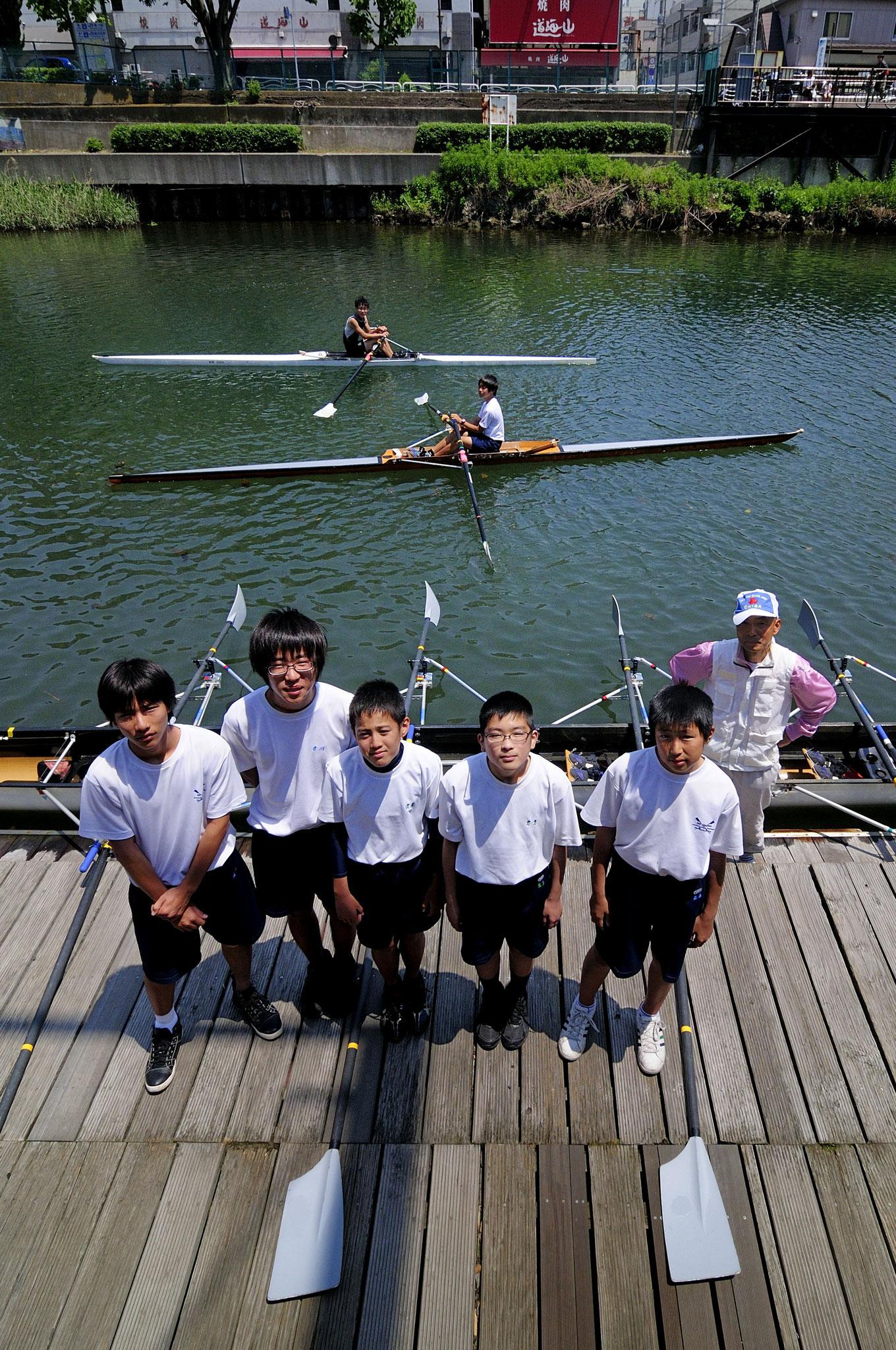 土曜日、中学校のボート部の練習があった。横十間川