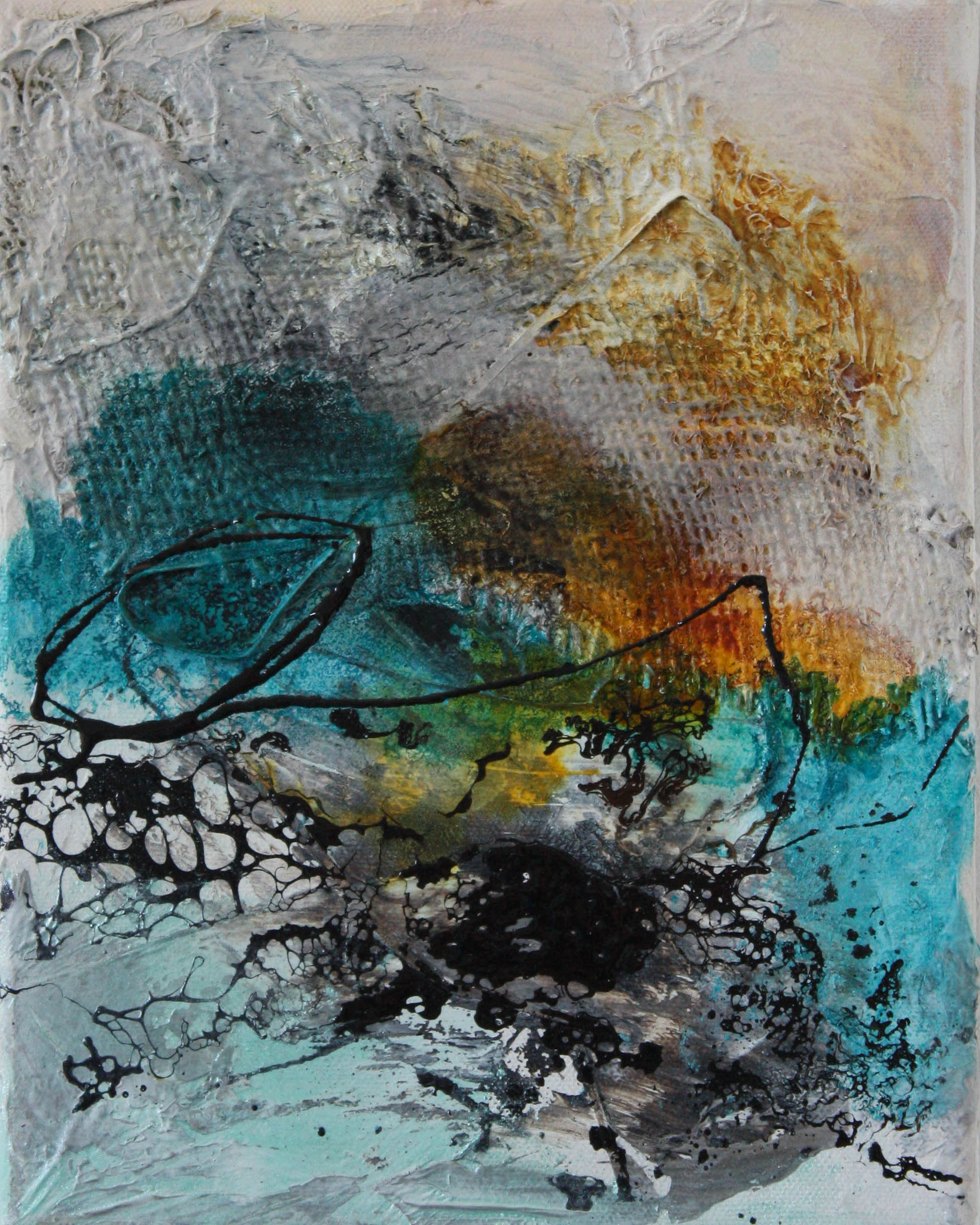 """2016-07 / (1 von 3 Bilder) """"Schellack I"""" / 25 x 30 cm"""