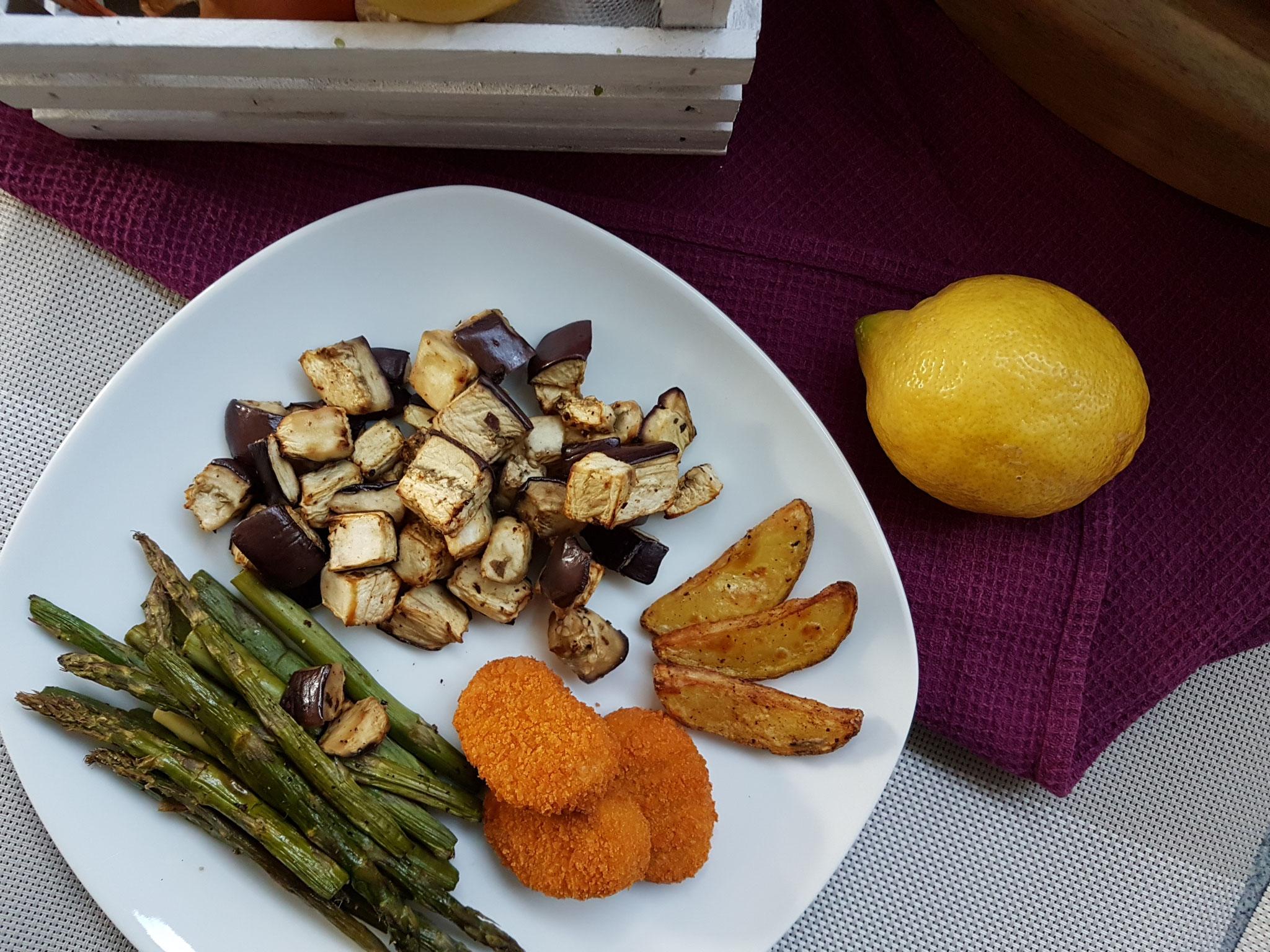 Veganes Fast-Food: Schneiden,Packung aufreißen, alles rein in' Backofen, fertig!