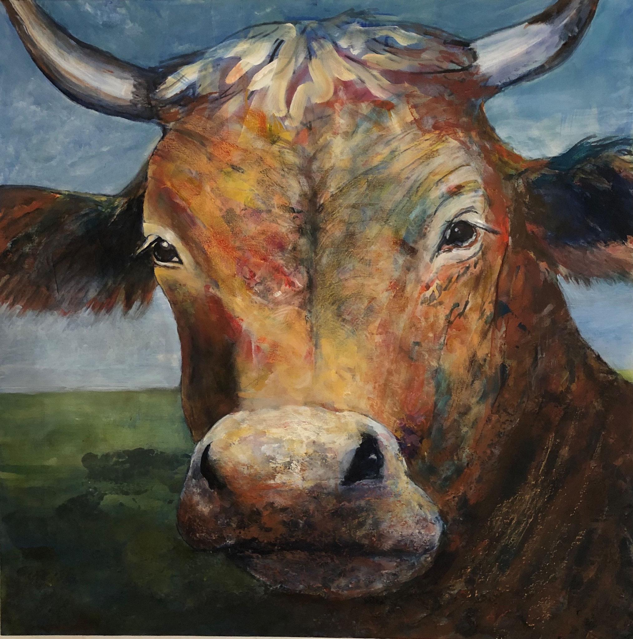 Die bunte Kuh, Mischtechik auf Leinwand, 80x80cm