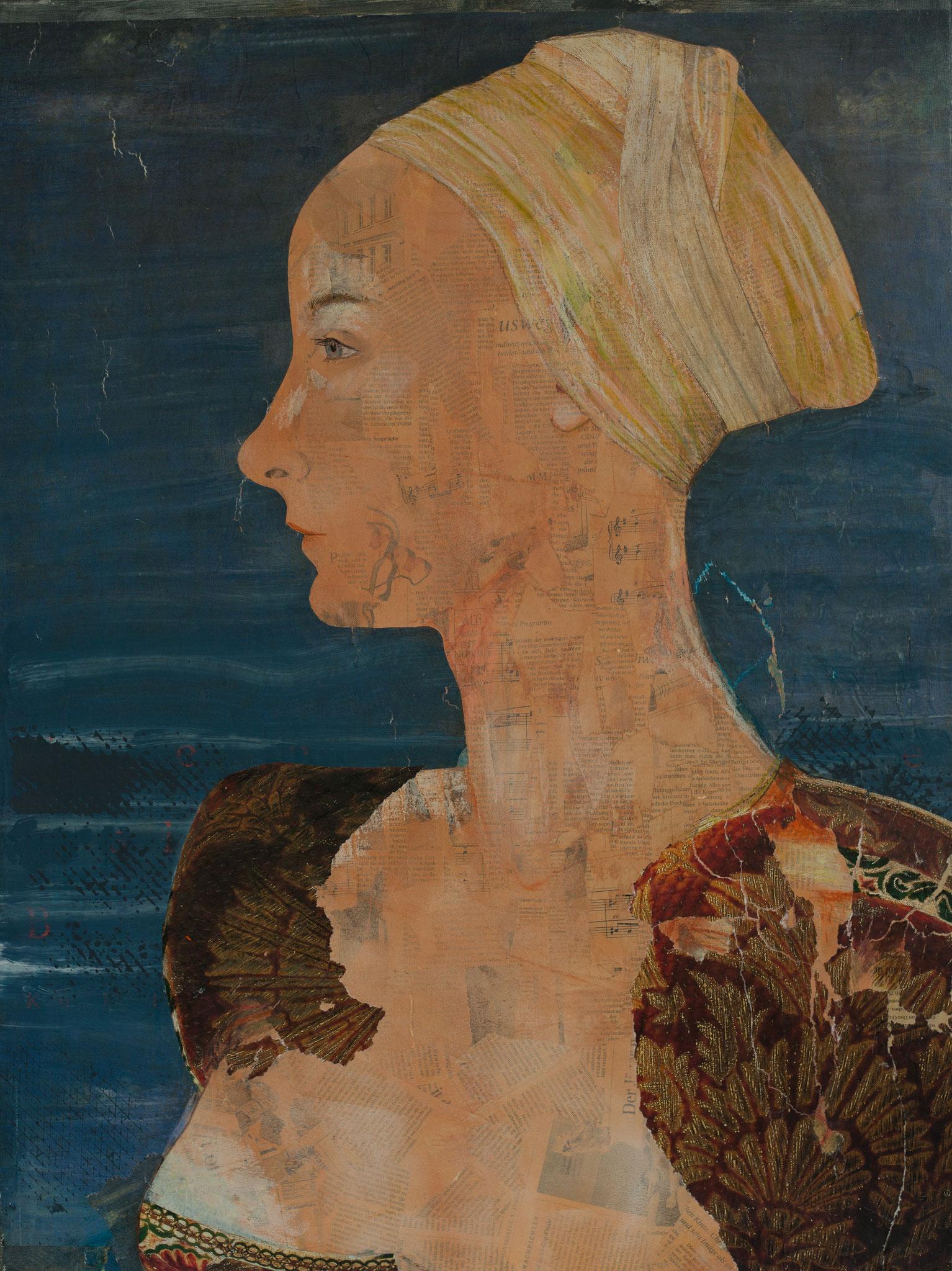 blaublütig, Mischtechnik auf Leinwand, 50 x 70 cm