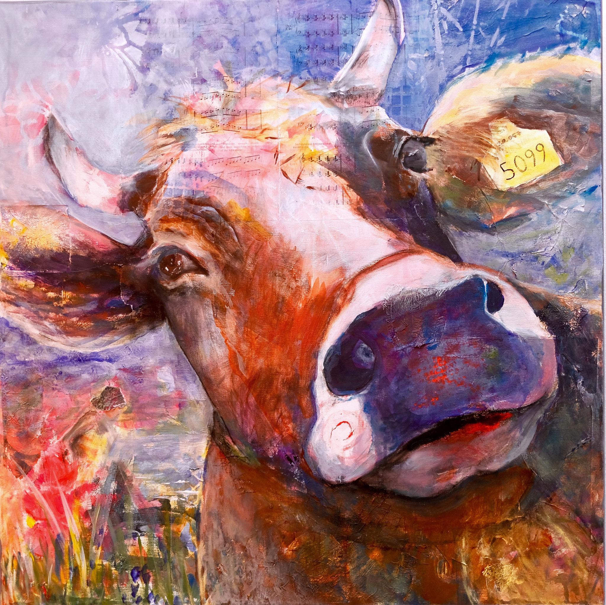 Ferdinand und die Muße,  Mischtechik auf Leinwand, 80x80cm