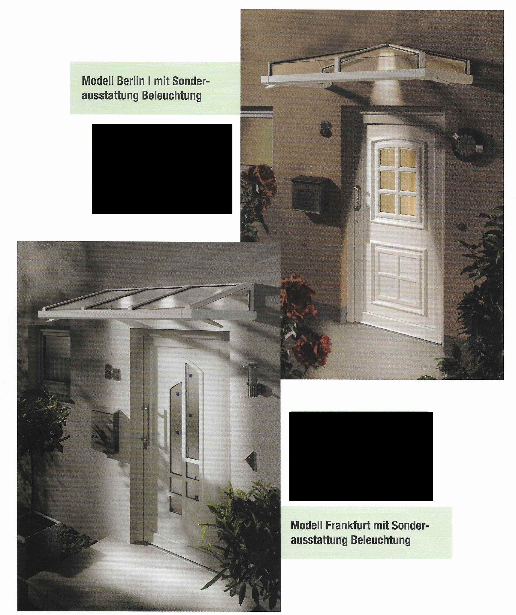 Beispiele von Vordächern mit LED-Ausstattung