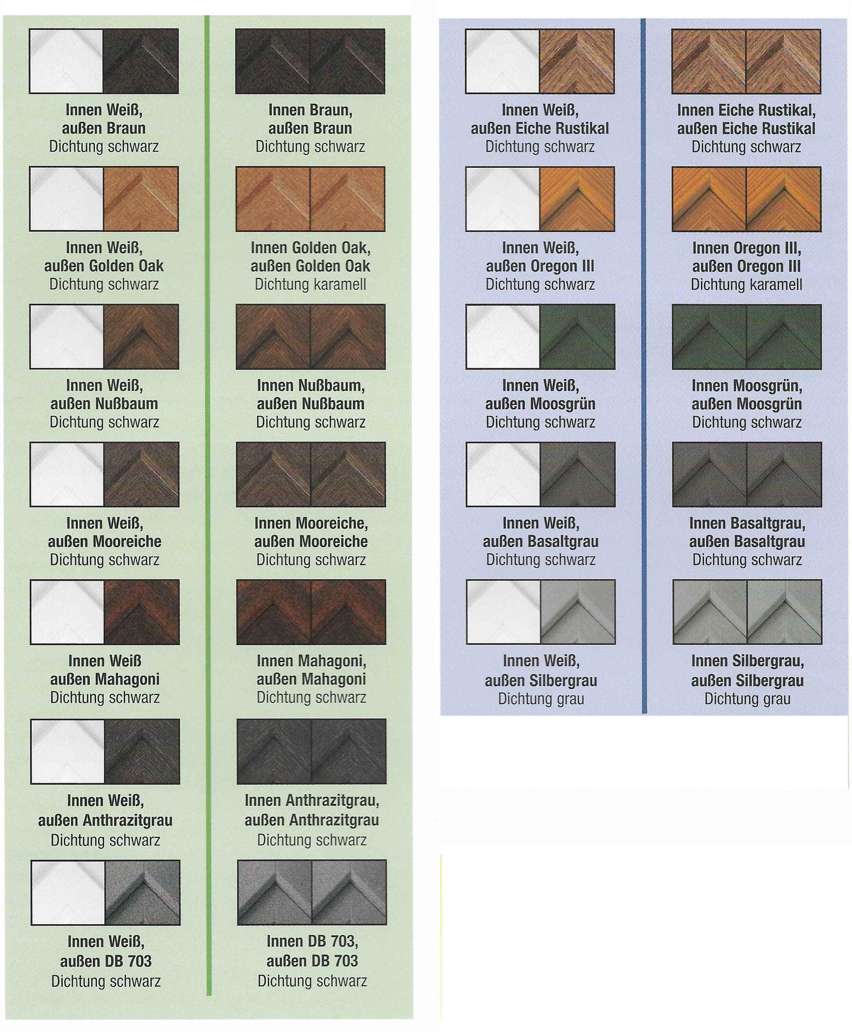 Beispiele für mögliche Farbkombinationen