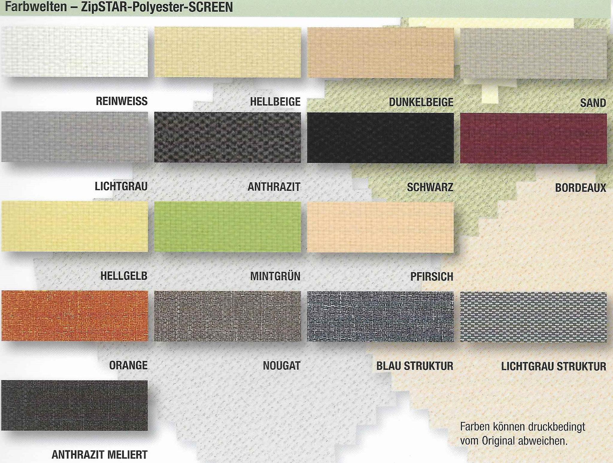 Beispiele von möglichen Stofffarben