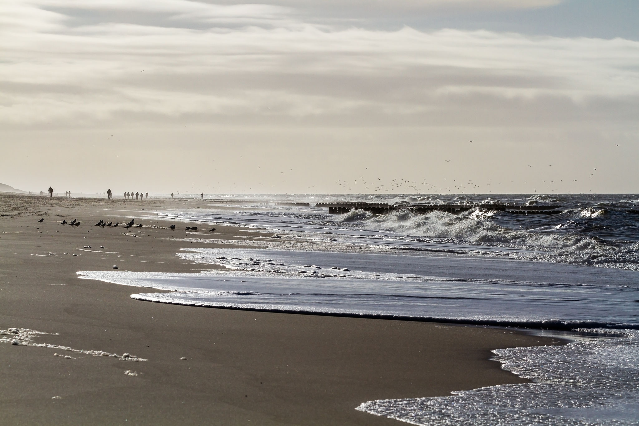 Brandung am Strand von Kampen auf Sylt