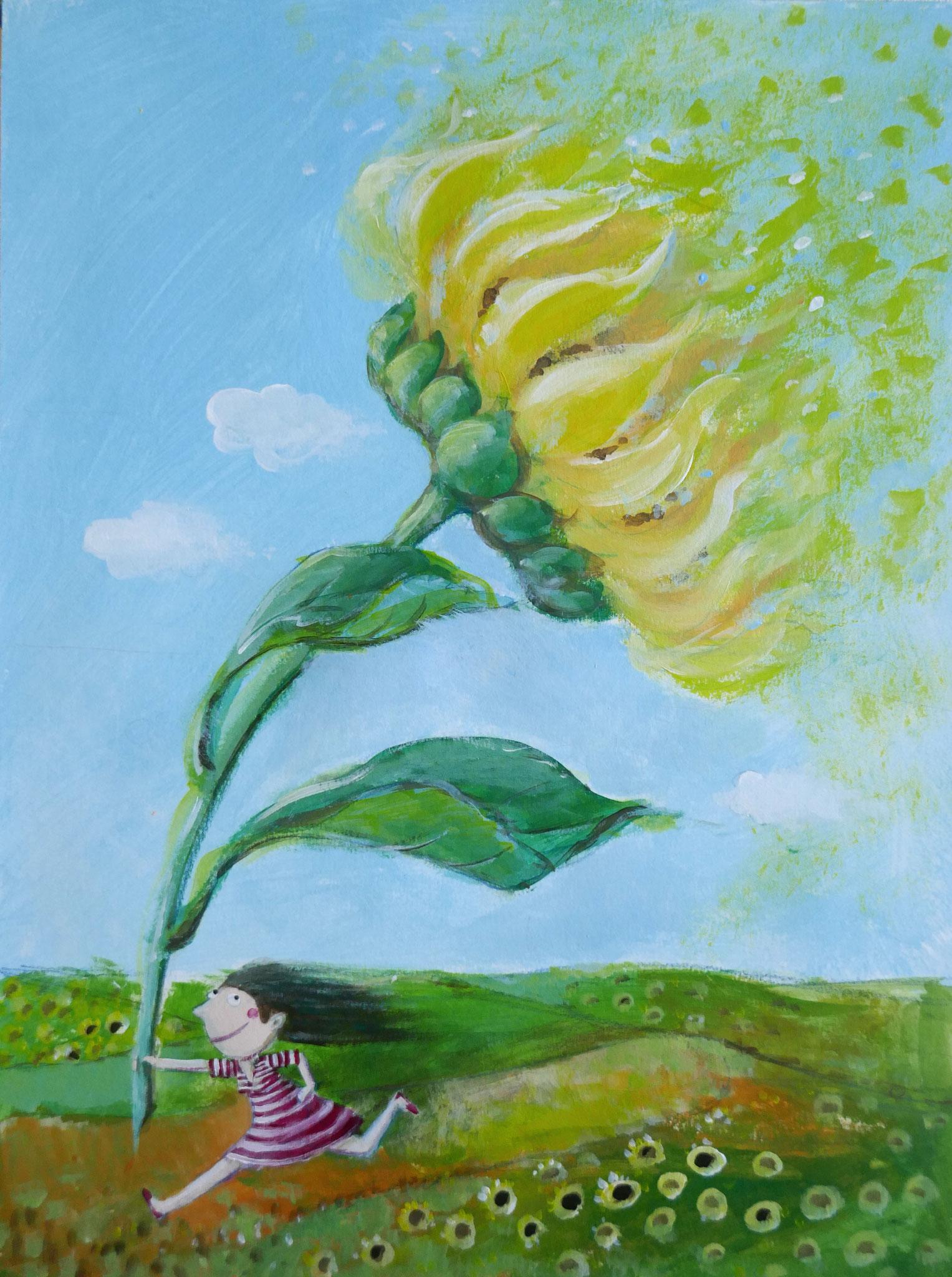Sommertag mit Sonnenblume . 2020 . 30x40cm . 150,- €