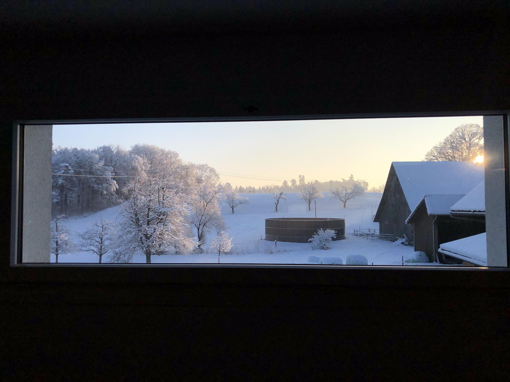 Winterlandschaft aus dem Eventraumfenster Richtung Osten