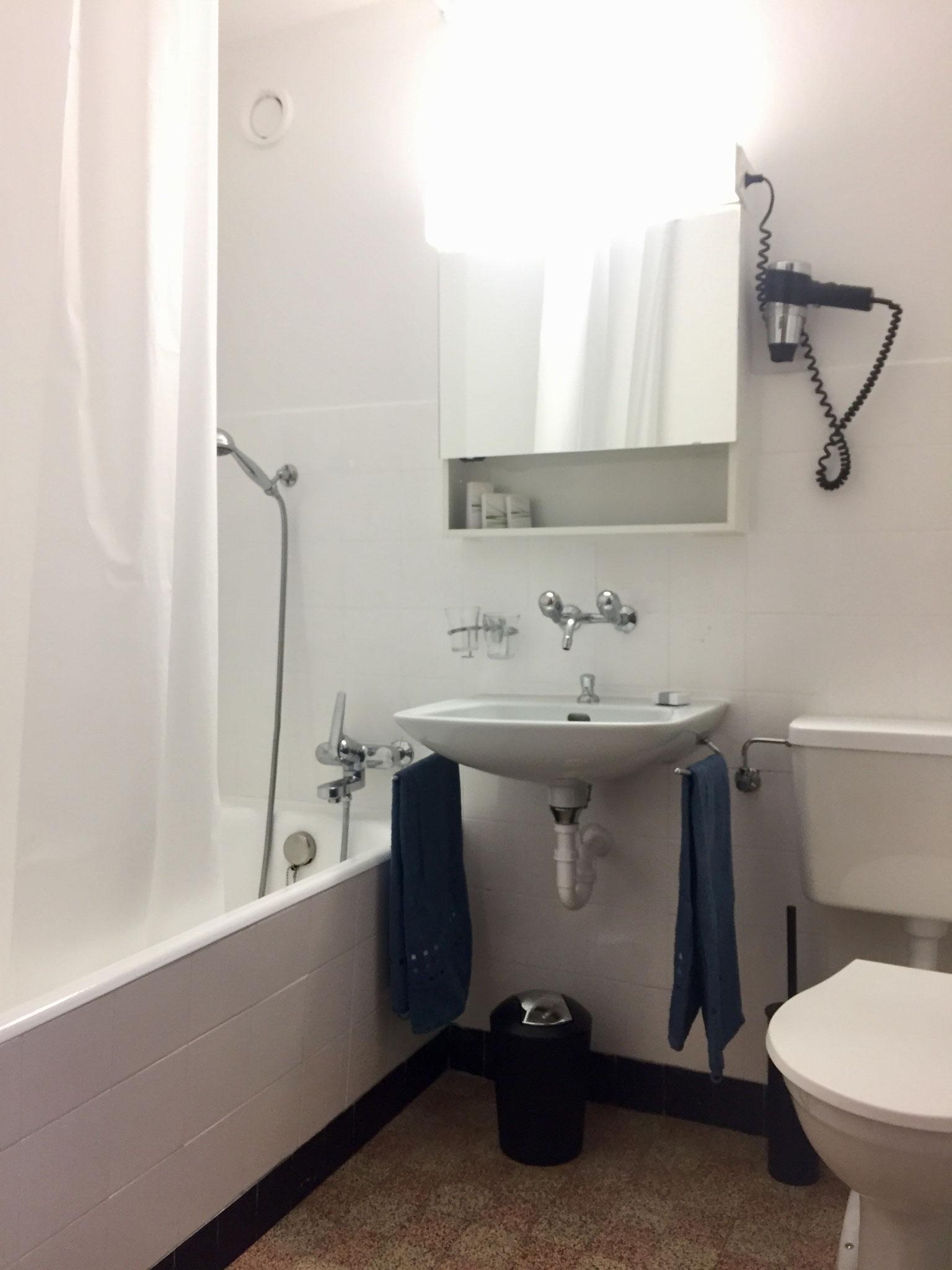 Badezimmer mit Föhn und Pflegeprodukten