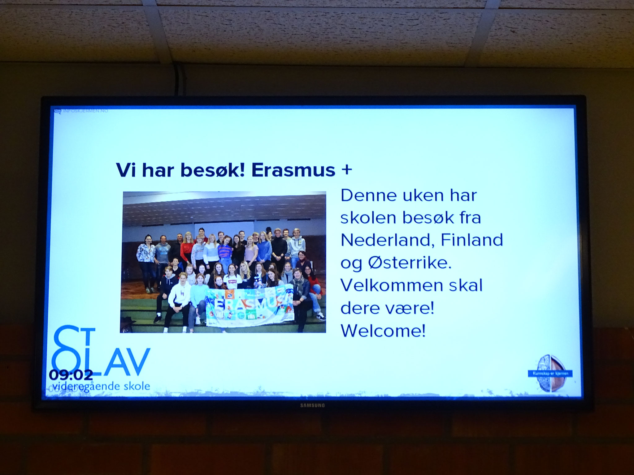 Erasmus news on screen in Norway 2018 (norwegian)