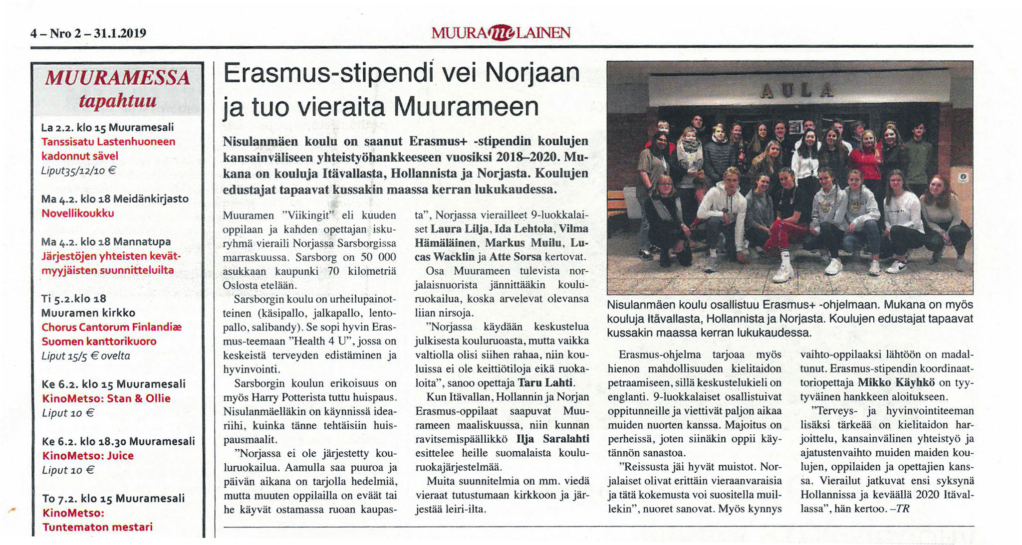 Newspaper article about meeting in Norway 2018 (finnisch)
