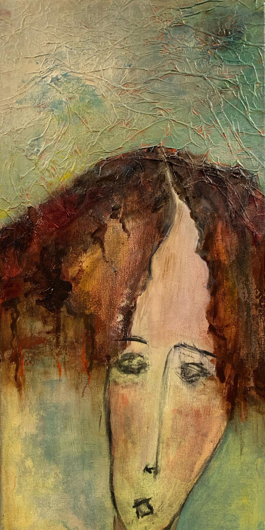 """""""Louise"""" Acrylique sur Toile 60 x 30 cm"""