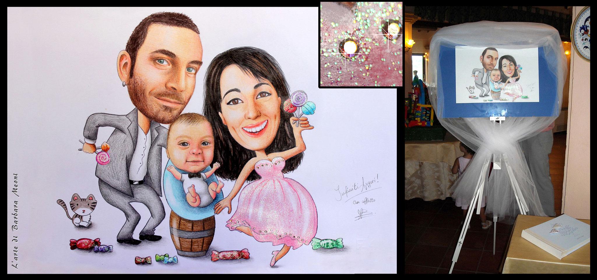 Caricatura matrimonio Marco e Francesca - Matite su cartoncino con effetto glitter iridescente e con rifiniture in strass arcobaleno 35x50 cm
