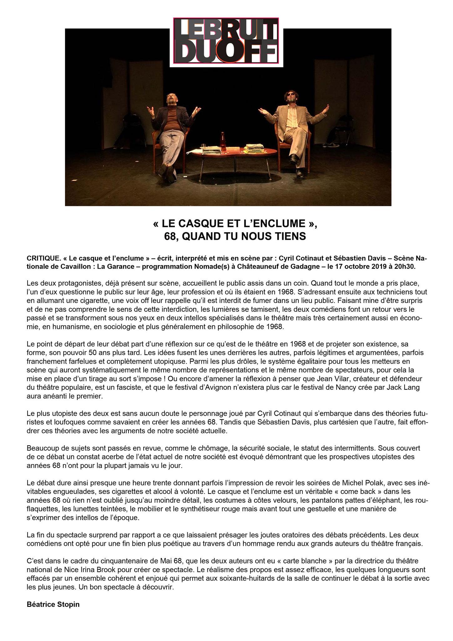 LE BRUIT DU OFF - Beatrice Stopin - 21 Octobre 2019