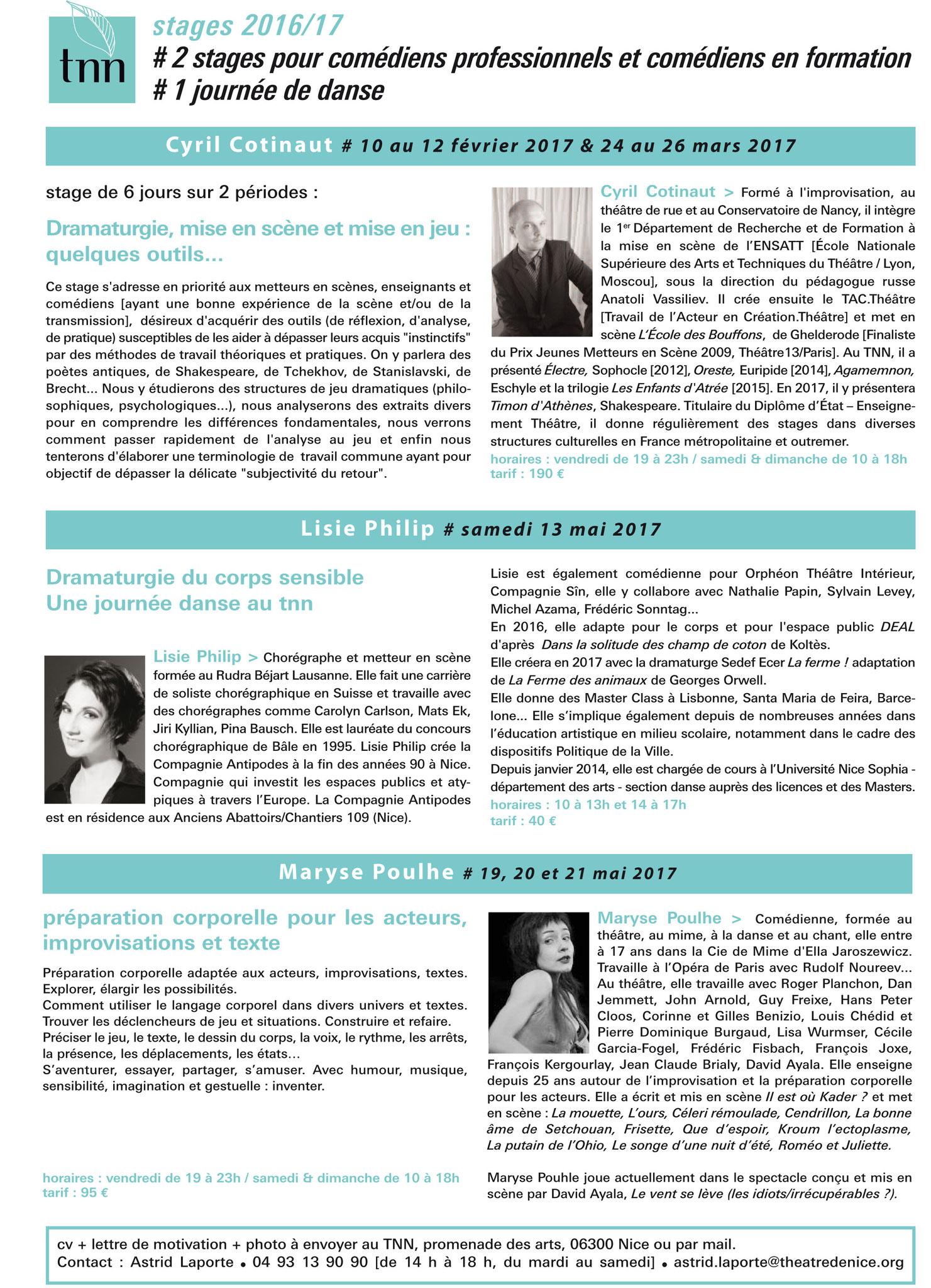 Stage sur l'action verbale autour d'HAMLET - Théâtre National de Nice CDN Nice Côte d'Azur - Février et Mars 2017