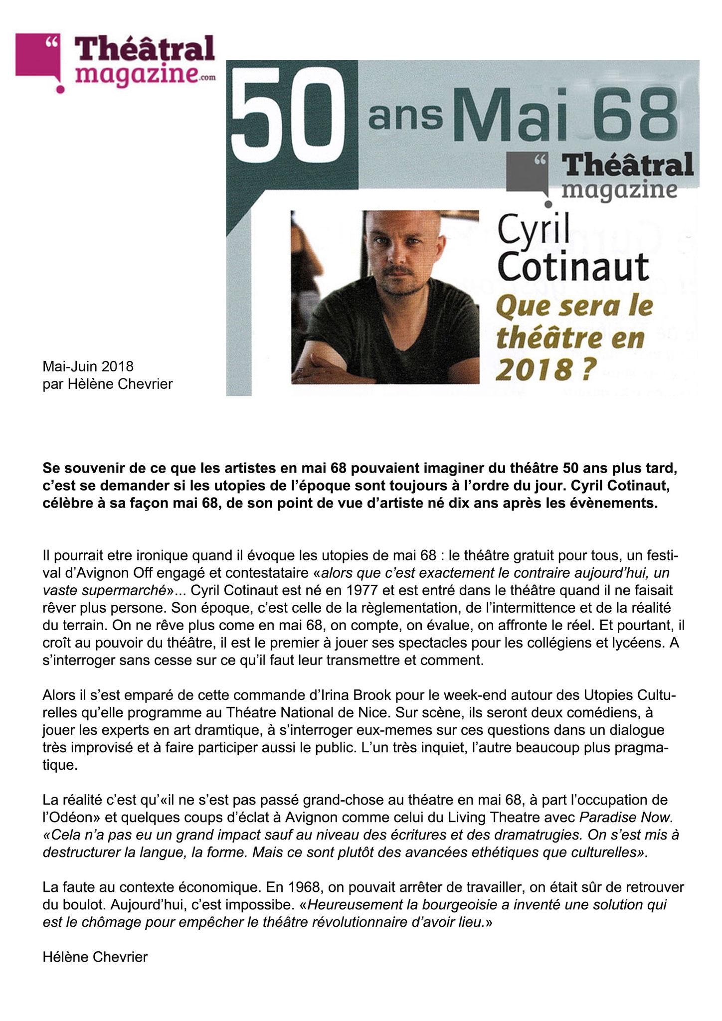 Restranscription article THEATRAL MAGAZINE - Hélène Chevrier - Mai 2018