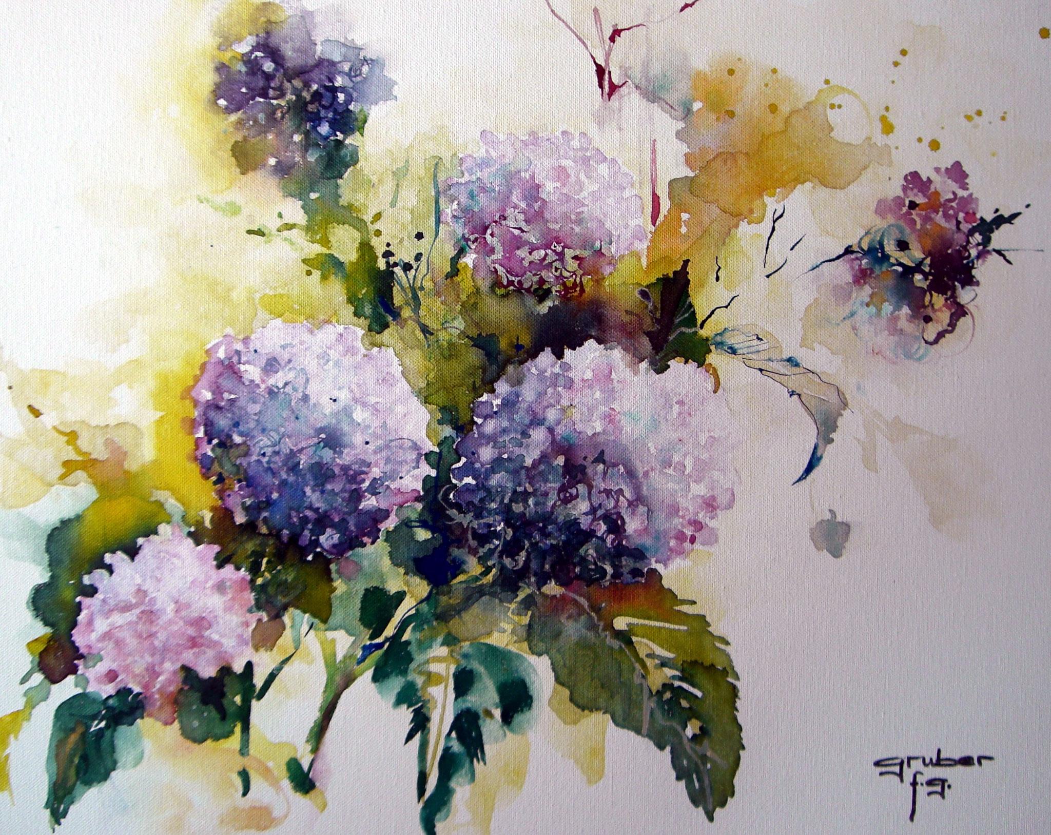 aquarell auf leinen - hortensien