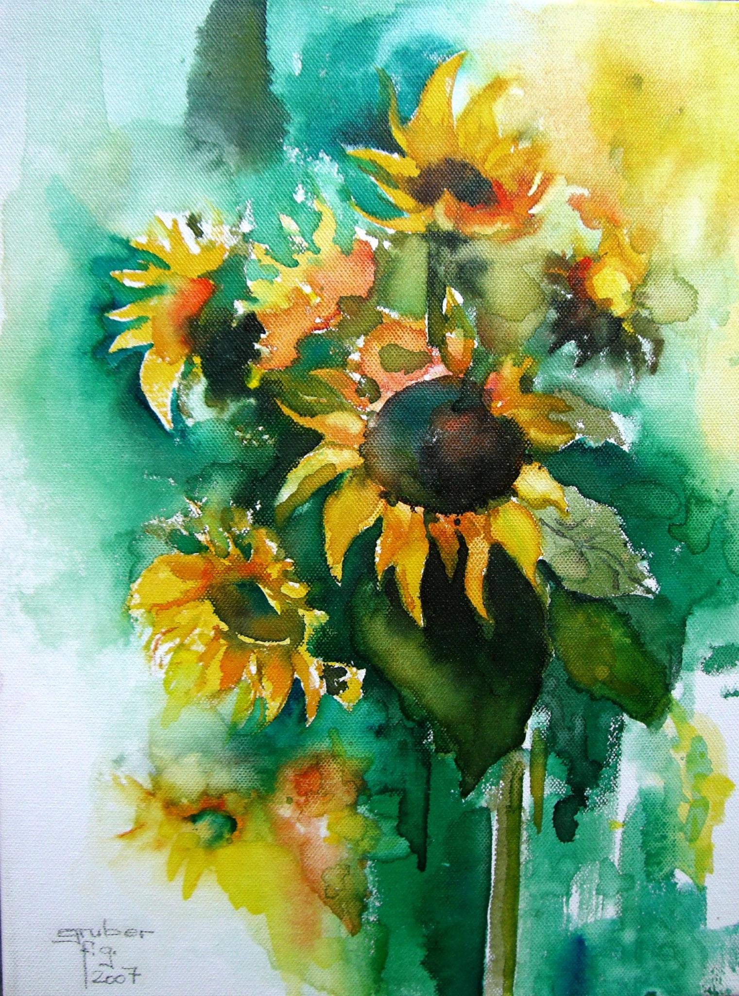 aquarell auf leinen - sonnenblumen