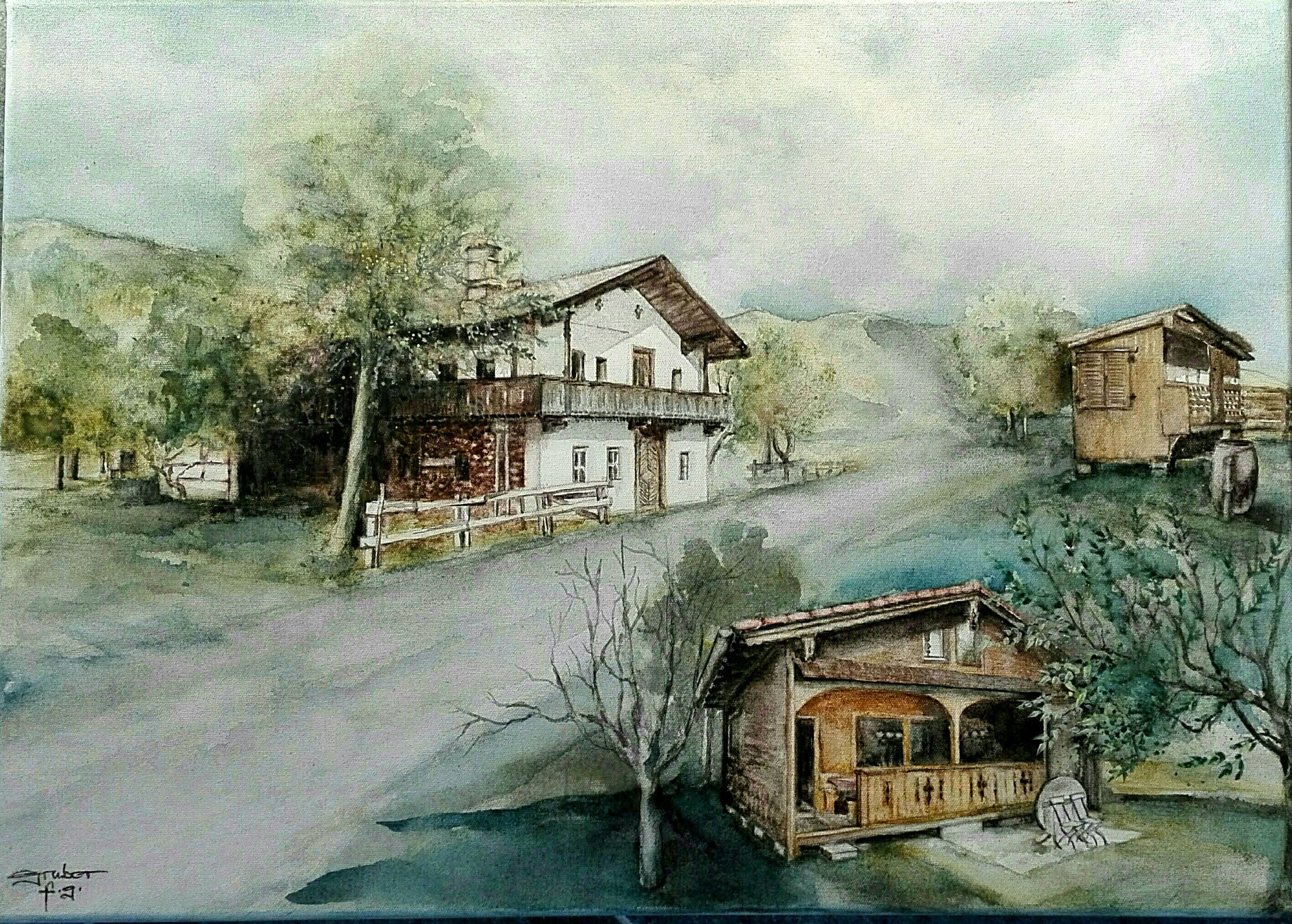 aquarell - trilogie tiroler bauernhof und nebengebäude (plein air)