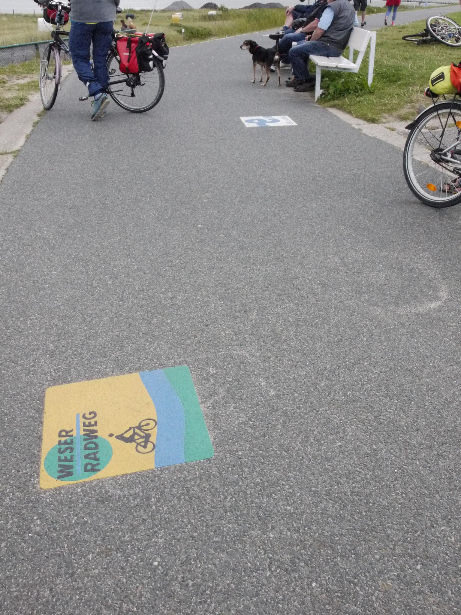 Weserradweg-Logo am Ende des Radweges, im Hintergrund der Elbradwegbeginn