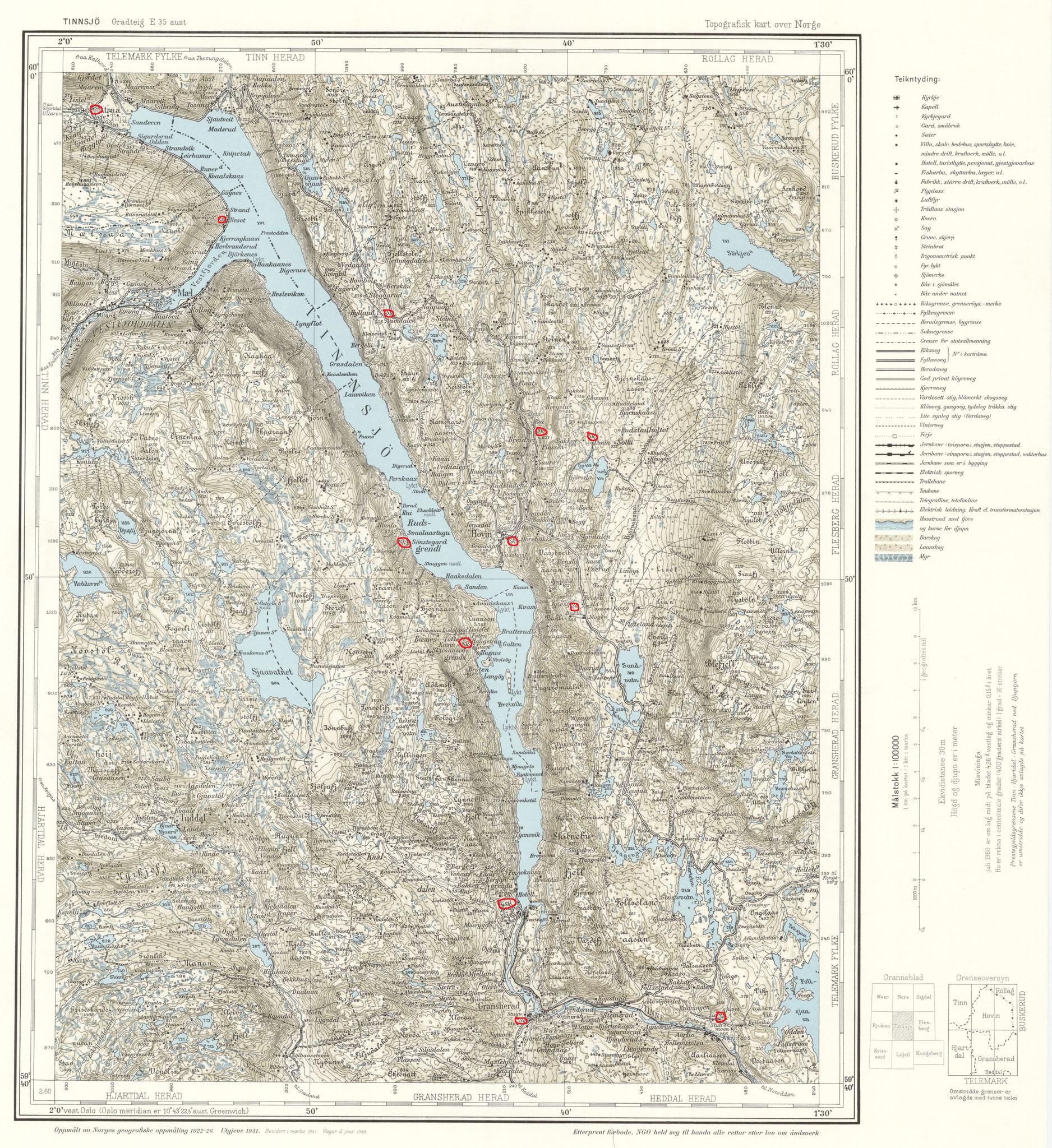 Karte von 1922/31 damals gab es 5 Schulen in Hovin