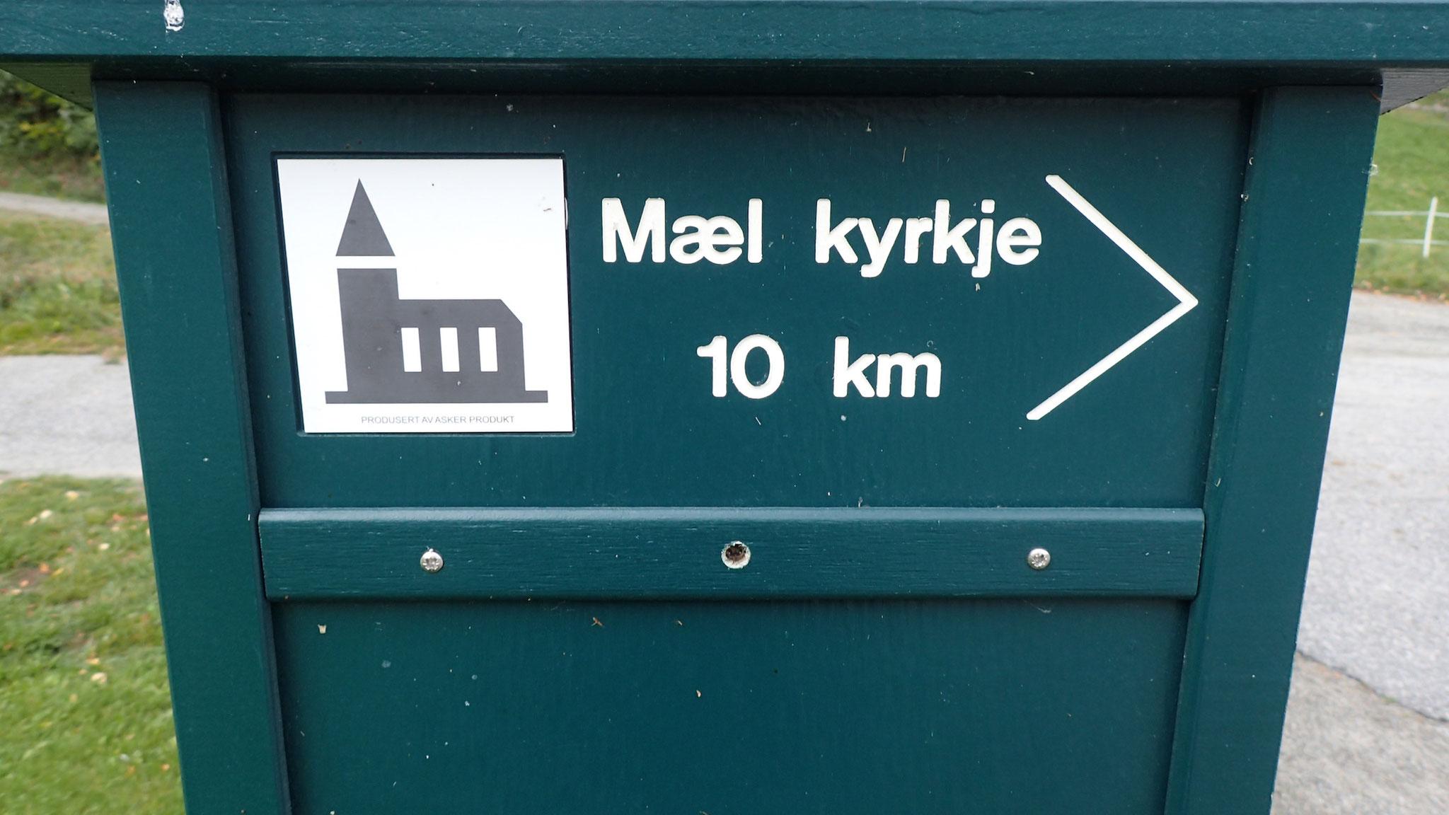 Kvite Kyrkjer Schild nach Mæl