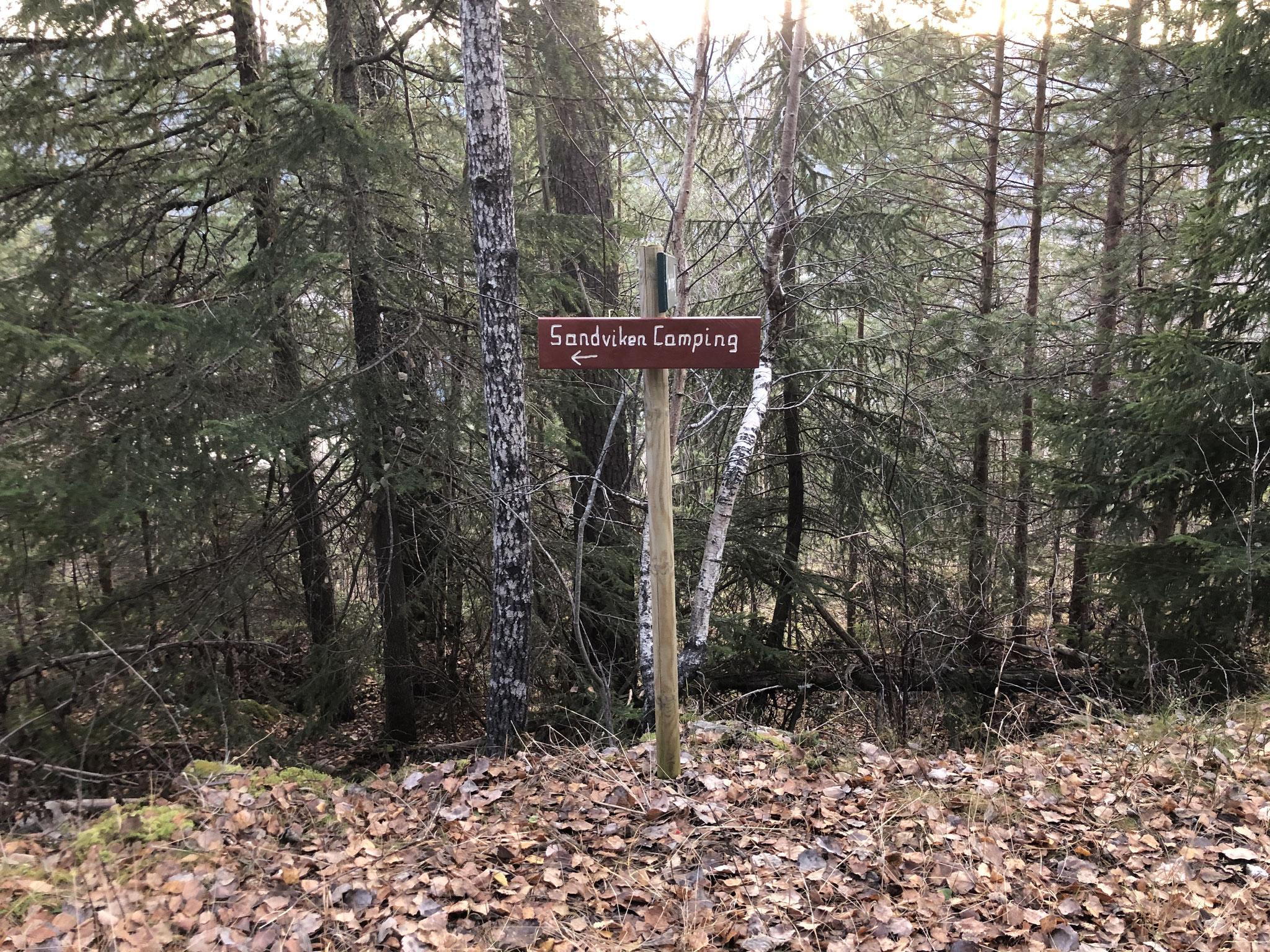 here you turn left back to Sandviken campsite
