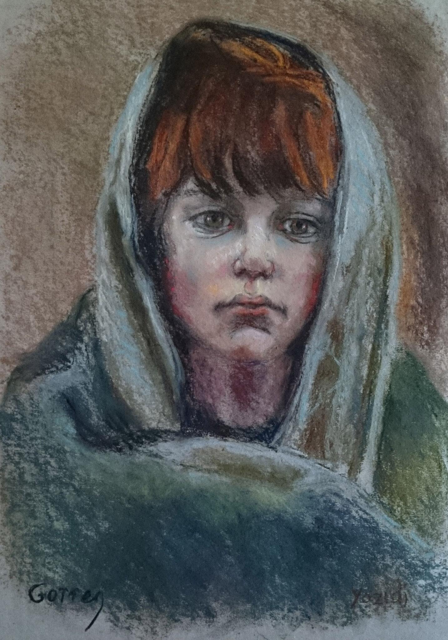 Enfant Yazidi pendant l'exode - pastel sur papier - 30 x 40 cm