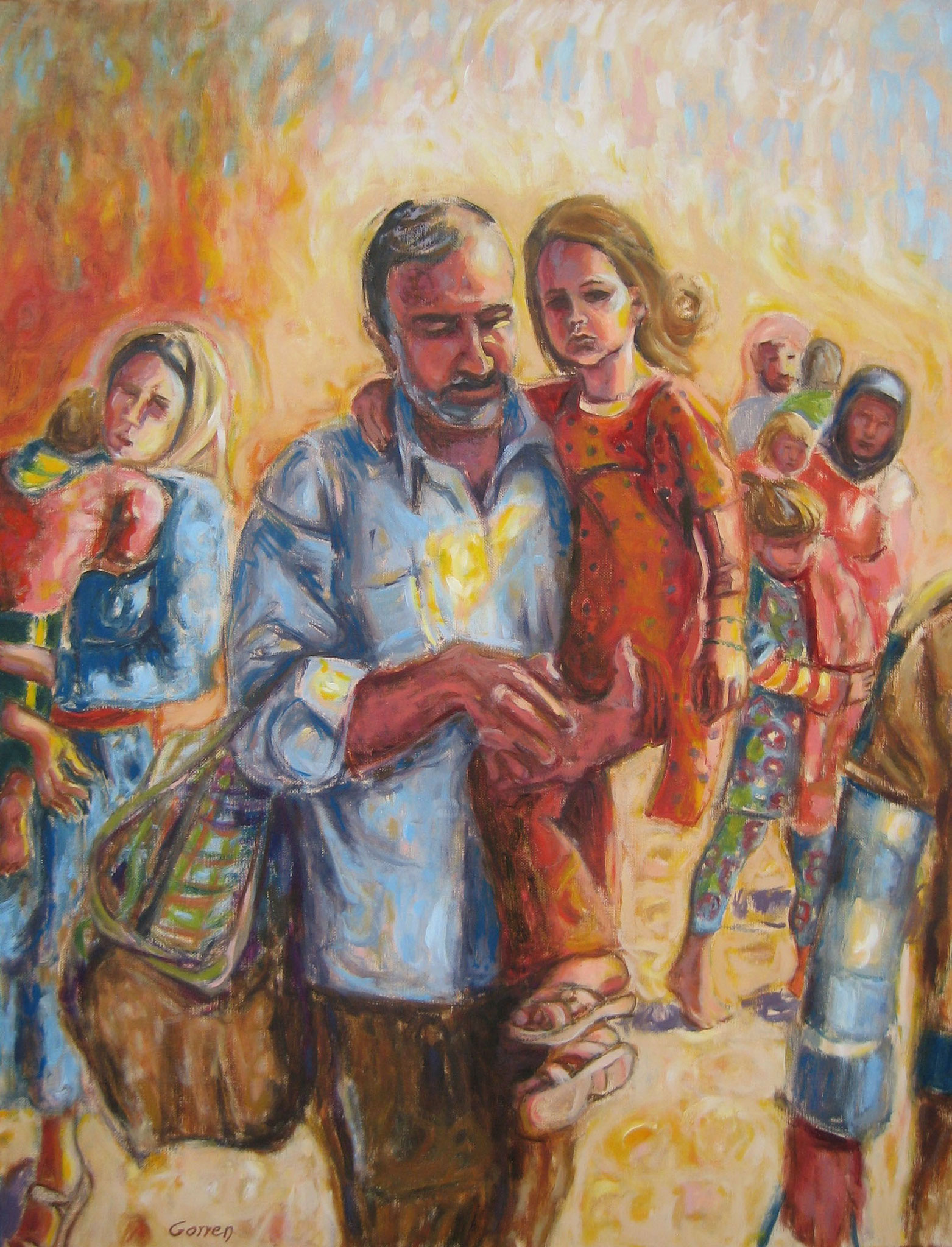 Exode des Yazidis - huile sur toile - 50 x 65 cm