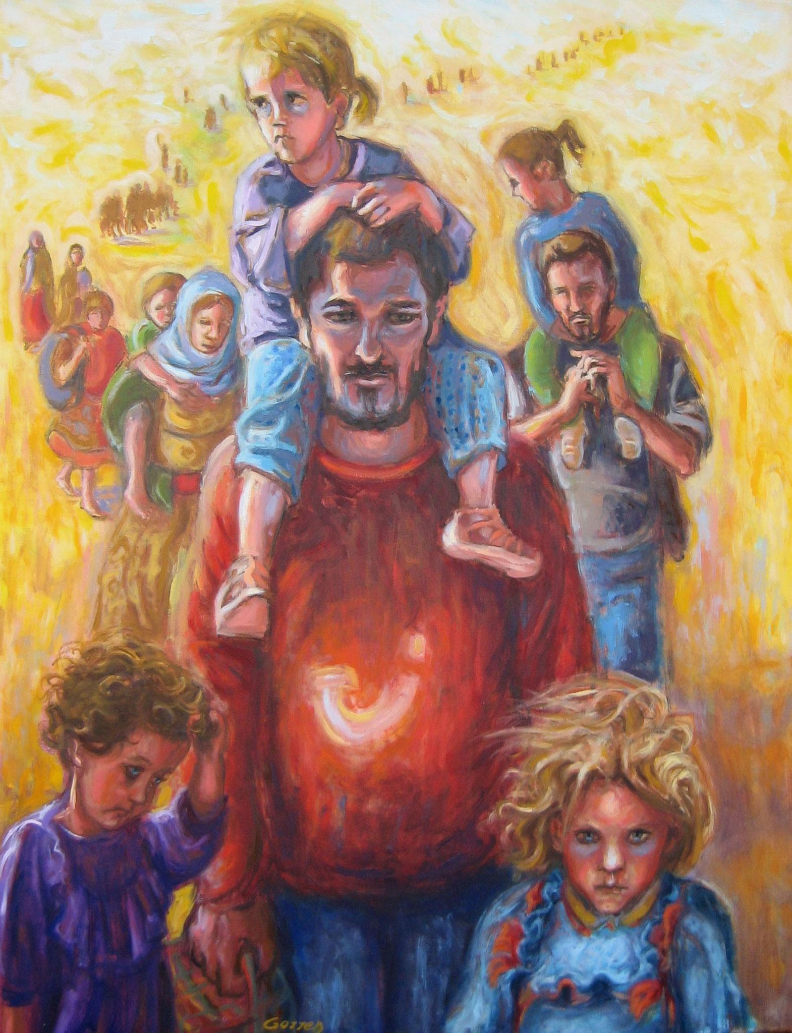 Exode des Yazidis - huile sur toile - 50 x 65 cm - VENDU