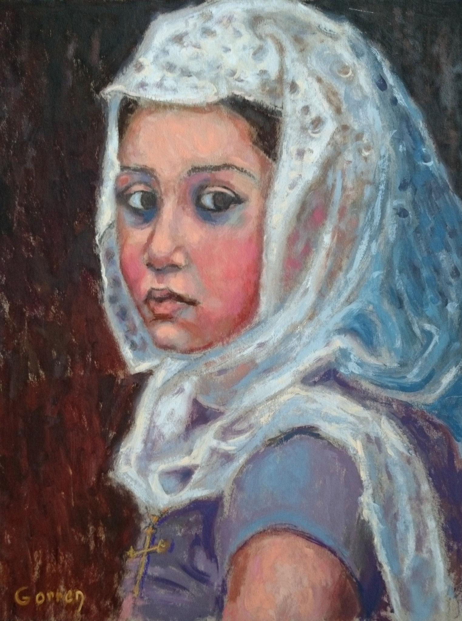 Jeune Chrétienne d'Orient au culte - huile sur carton - 32 x 42 cm