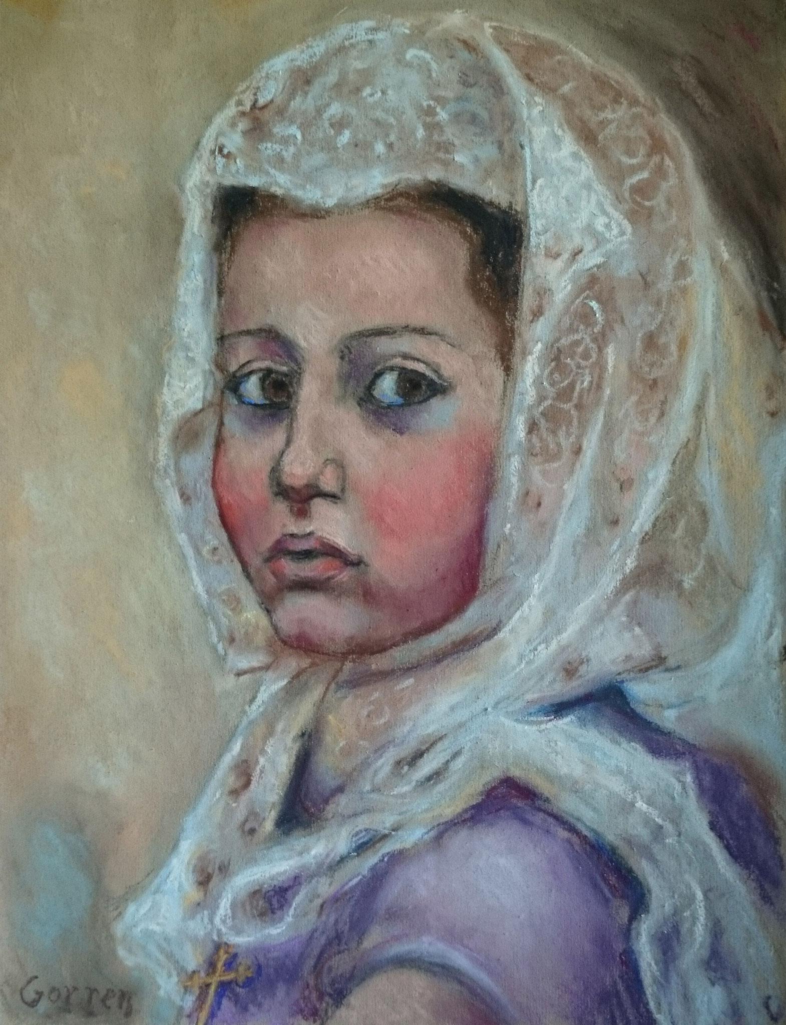 Jeune Chrétienne d'Orient au culte - pastel sur papier - 30 x 40 cm